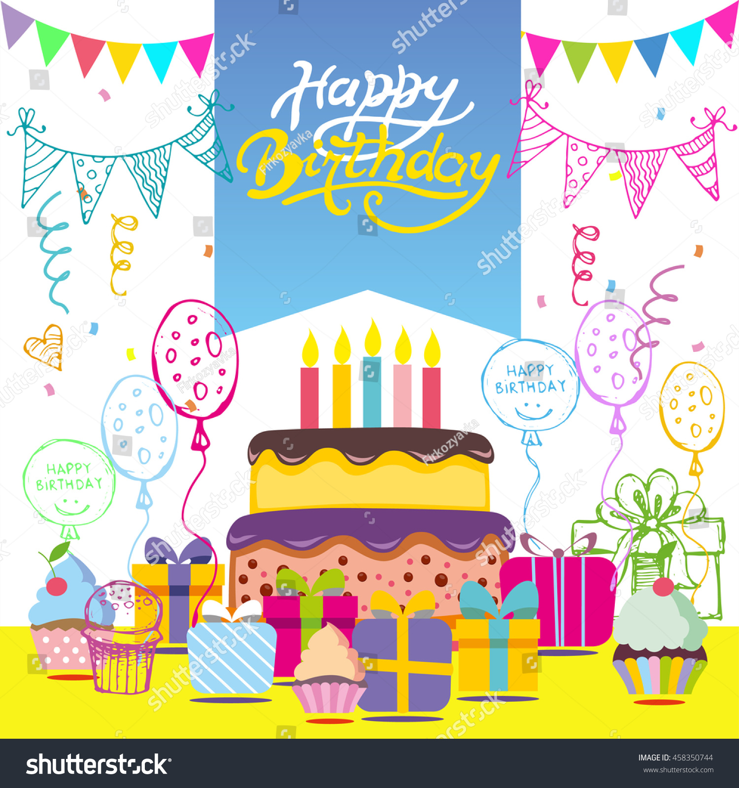 Happy Birthday Vector Card Hand Drawn Illustration Invitation Template Design