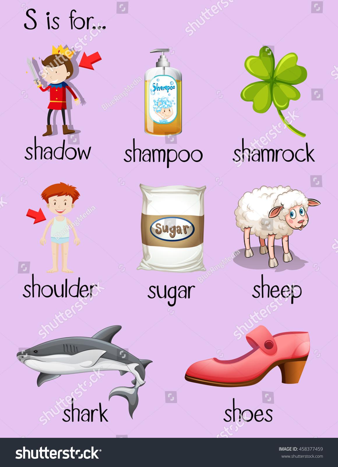 Many Words Begin Letter S Illustration Stock Vector (Royalty Free ...
