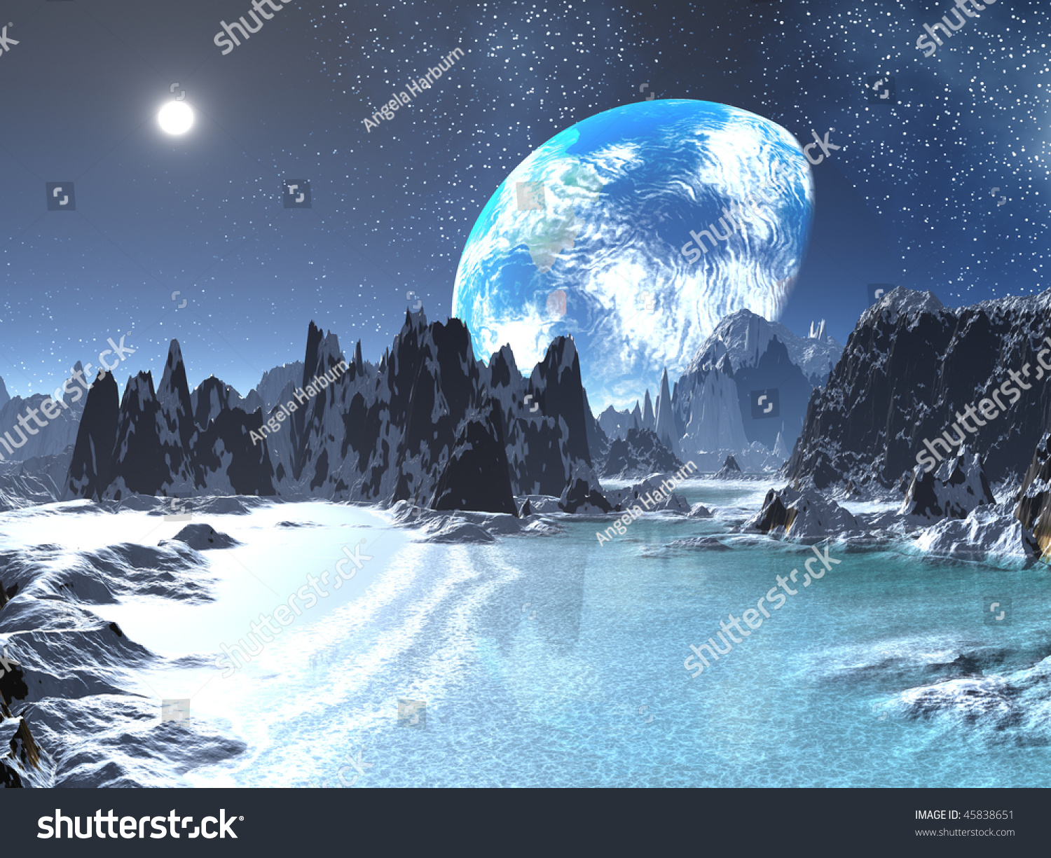 winter earthrise alien beach stock illustration 45838651 - shutterstock