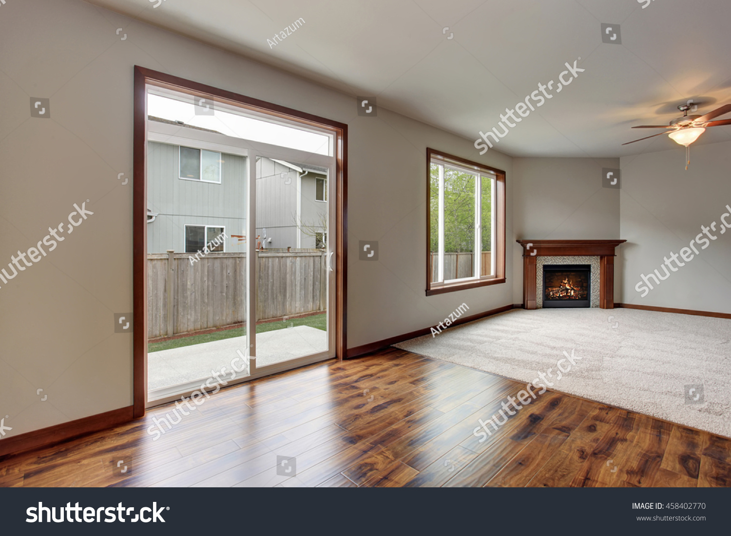Large Empty Living Room Interior With Carpet Floor Fireplace And