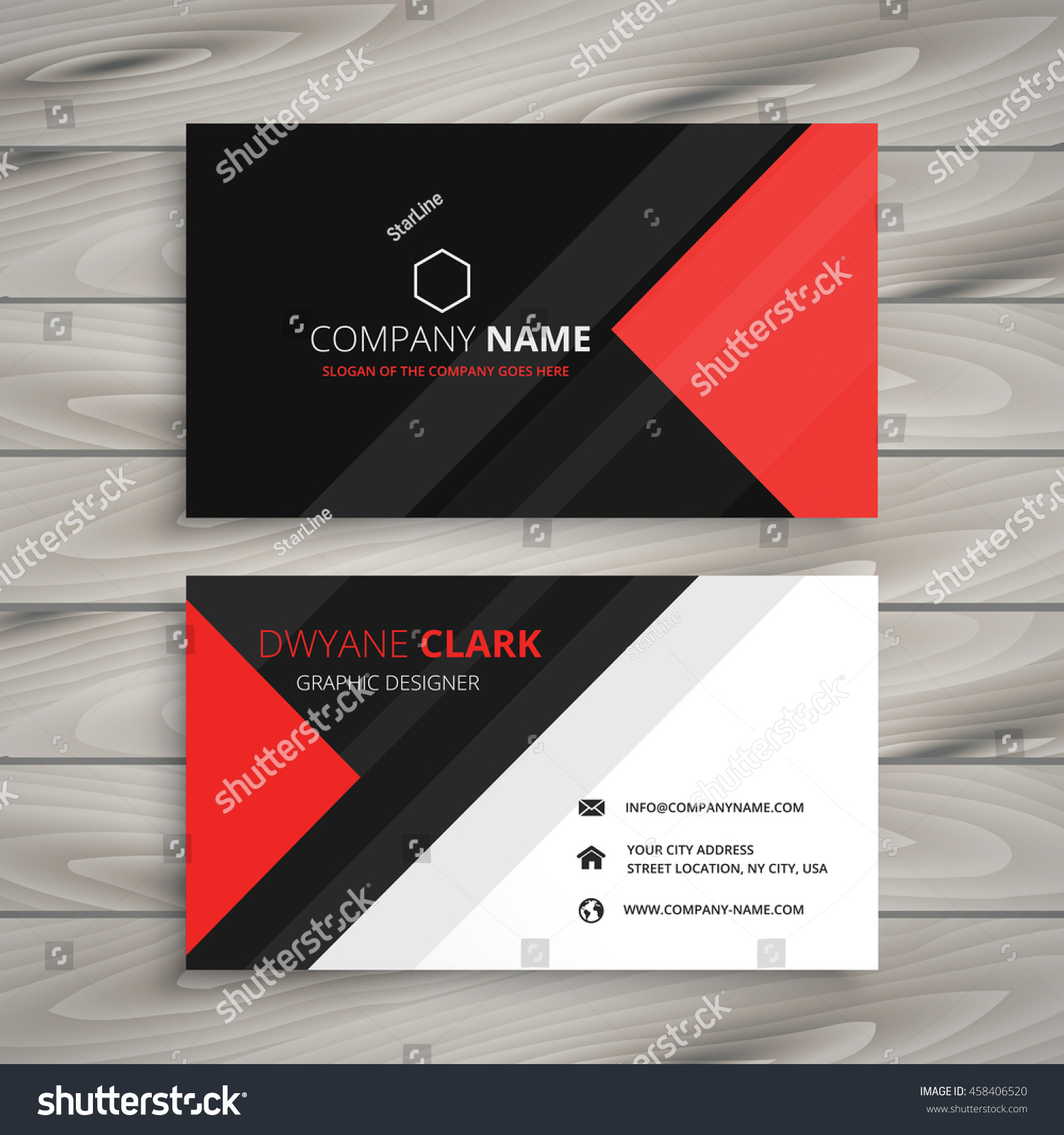 Red Black Corporate Business Card Stock Vector