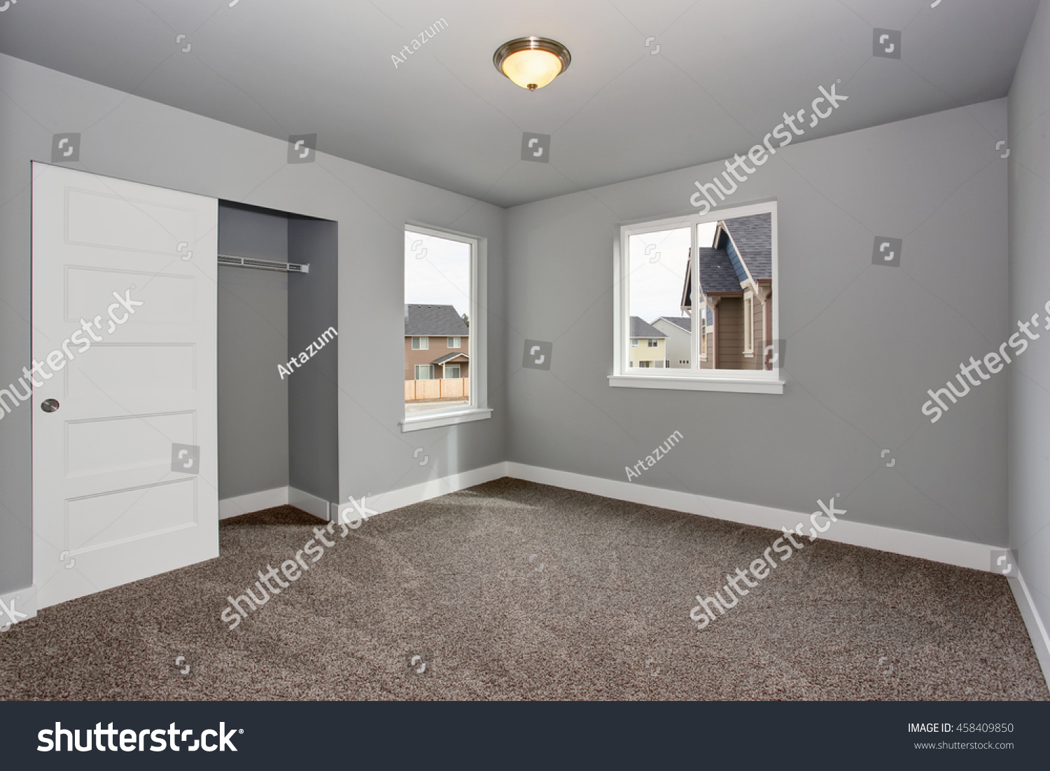 Small Basement Room Interior With Grey Walls And White Trim The Walk In