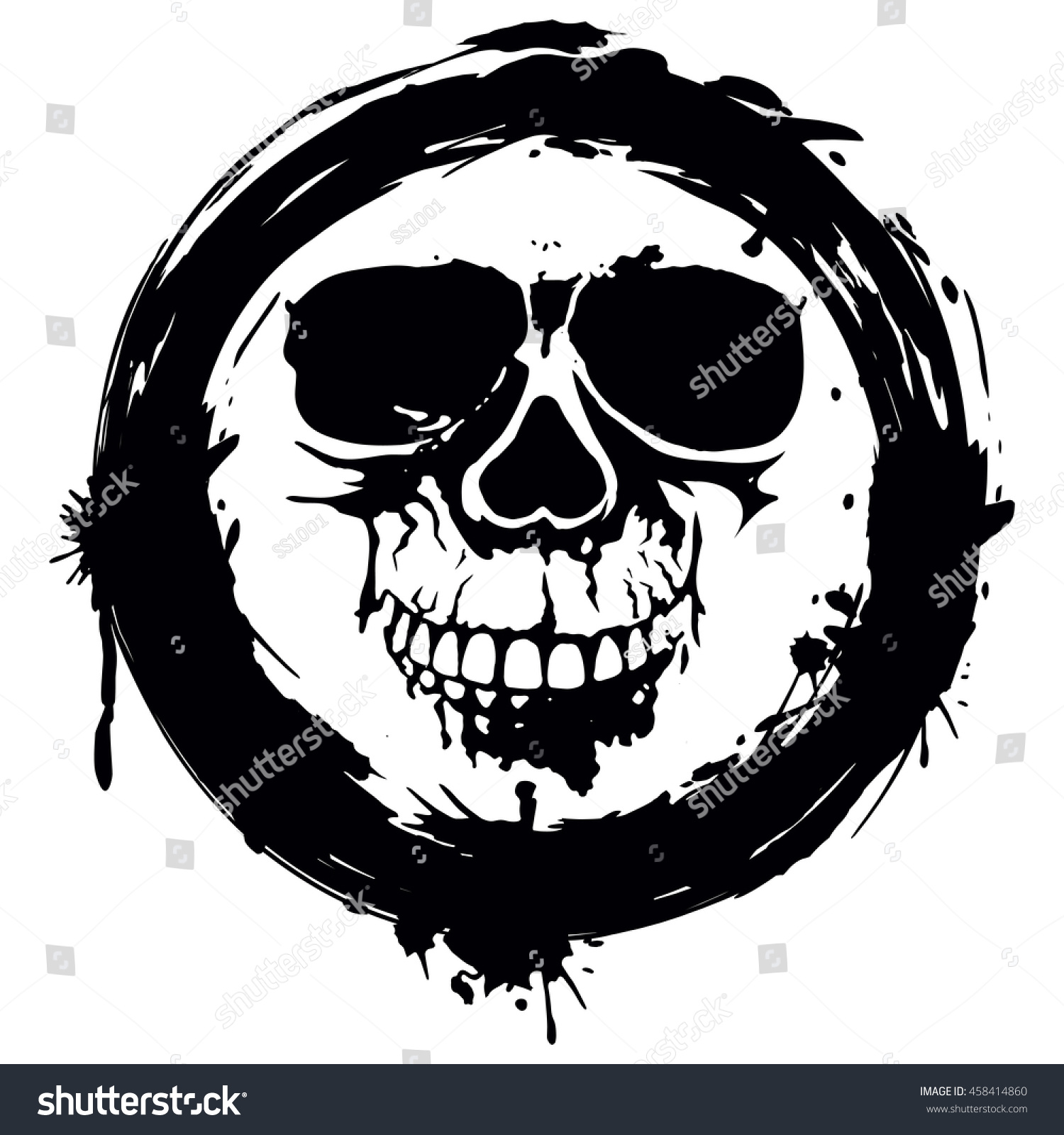 Vector Illustration Grunge Skull Frame Tattoo Stock Vector 458414860 ...