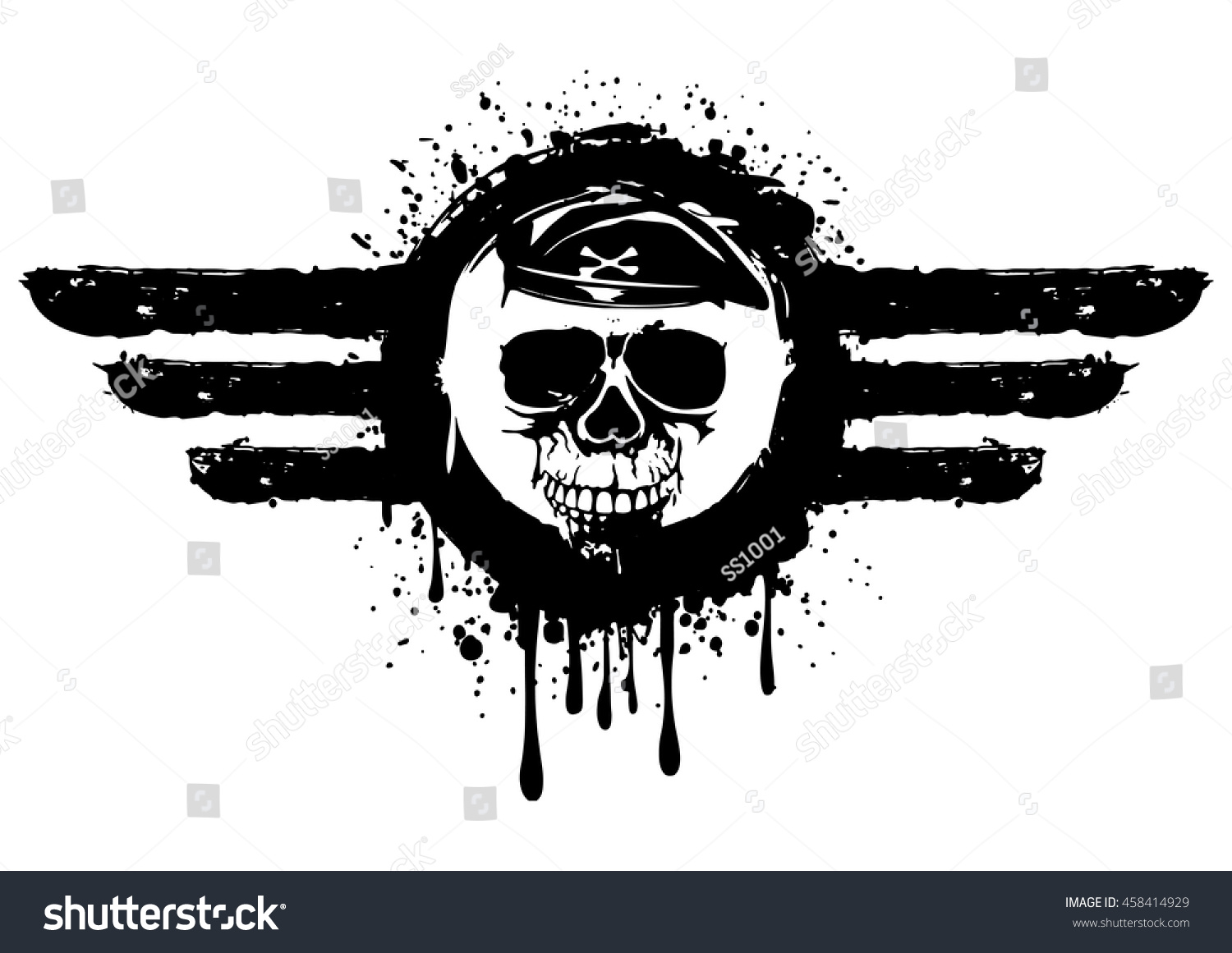 Vector Illustration Grunge Skull Frame Stock Photo (Photo, Vector ...