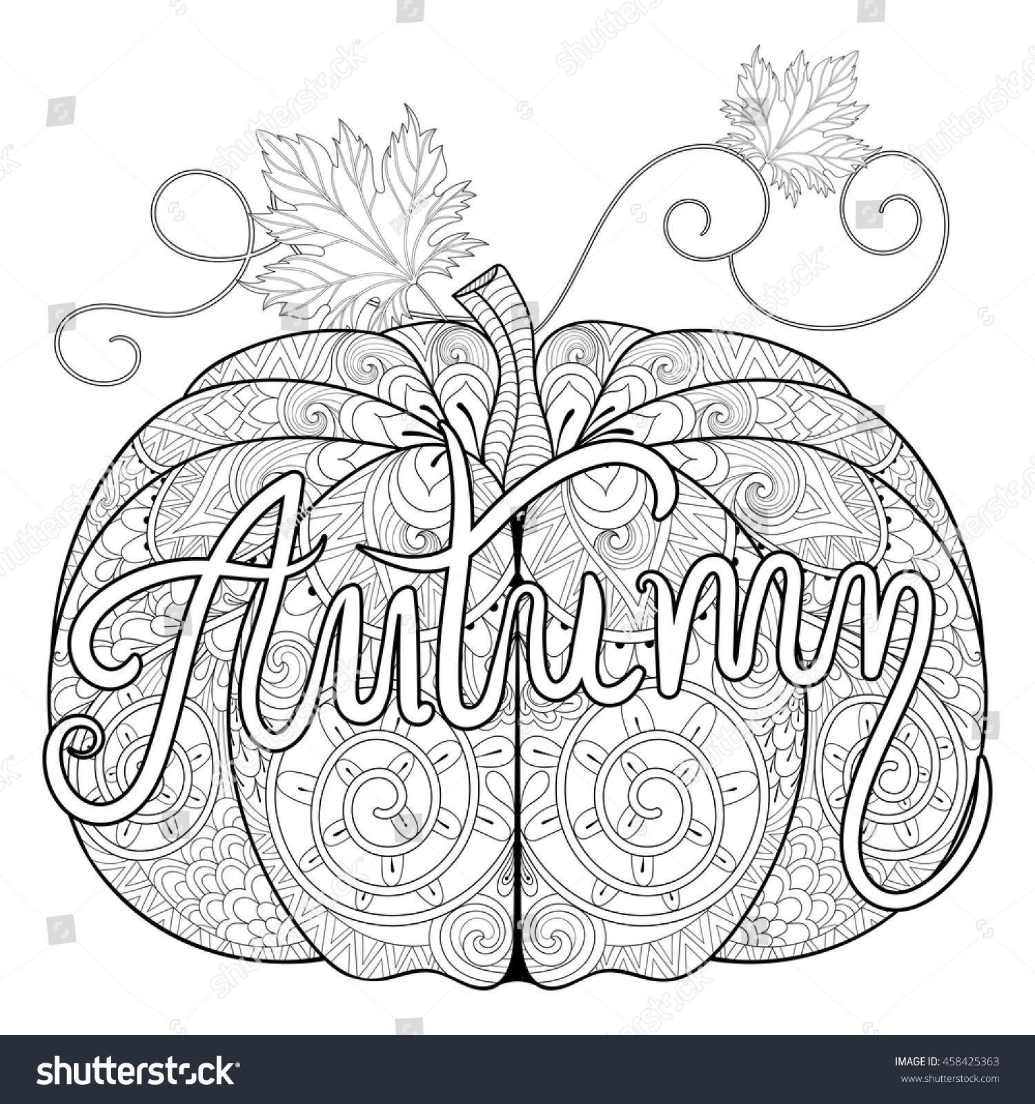 Zentangle Stylized Pumpkin Autumn Typographic Thanksgiving Stock