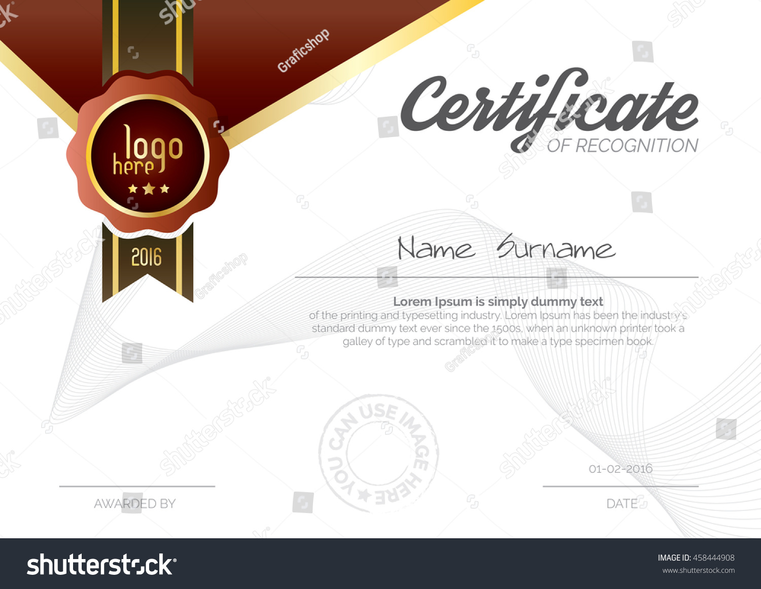 A 4 Size Wide Certificate Layout Template Stock Vector Royalty Free