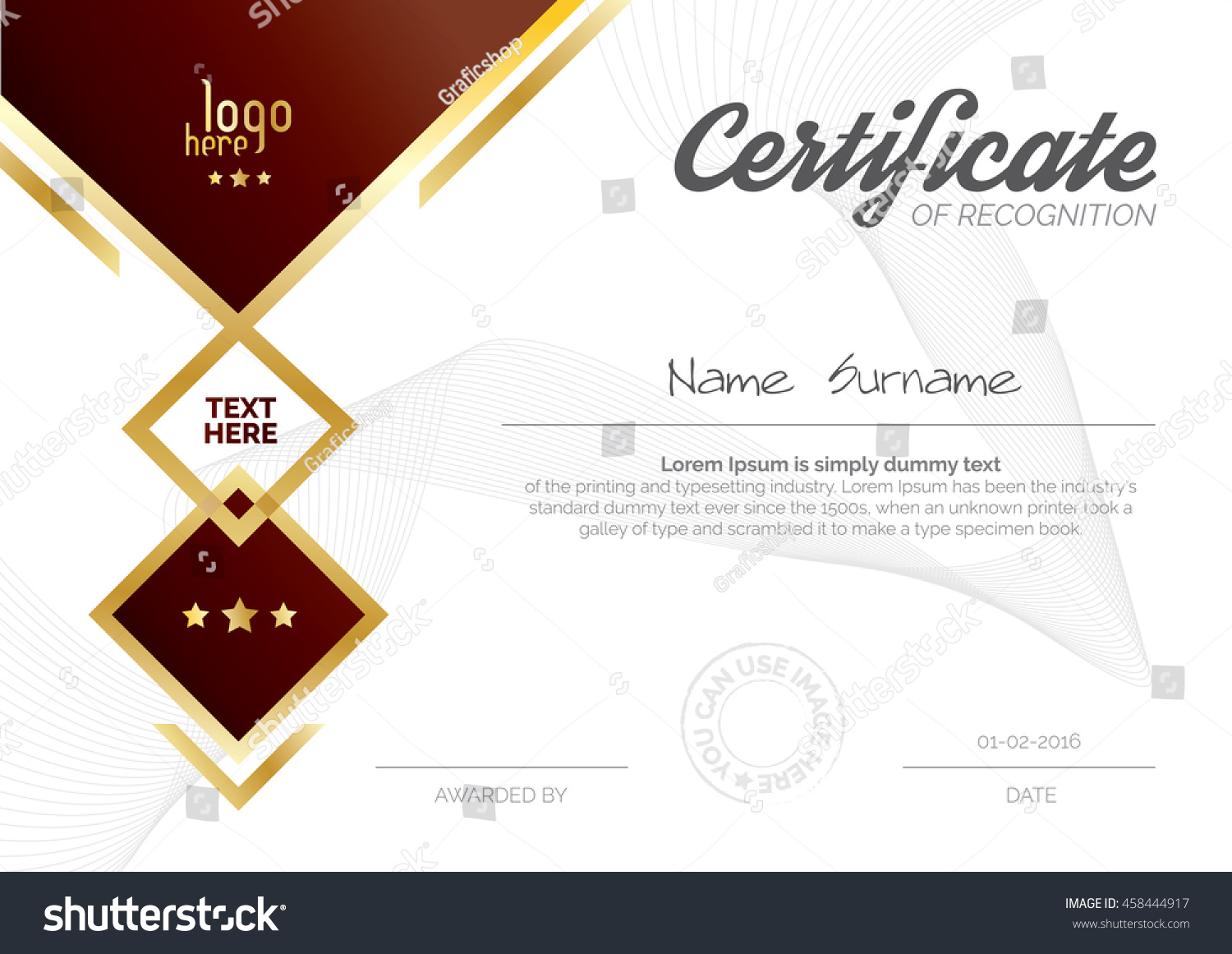 A 4 Size Horizontal Certificate Layout Template Stock Vector