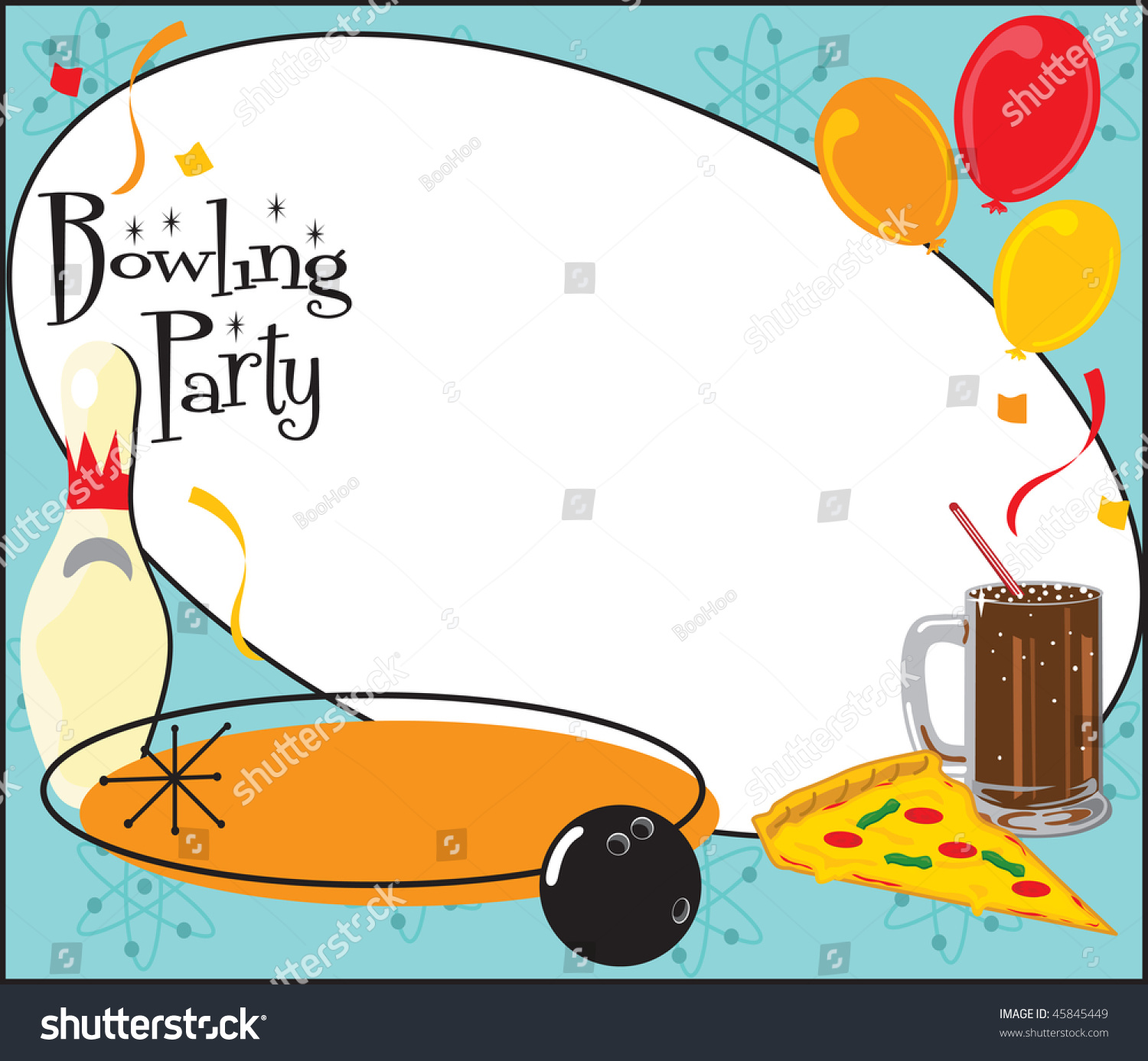Kids Adult Bowling Birthday Party Team Stock Vector 45845449 ...