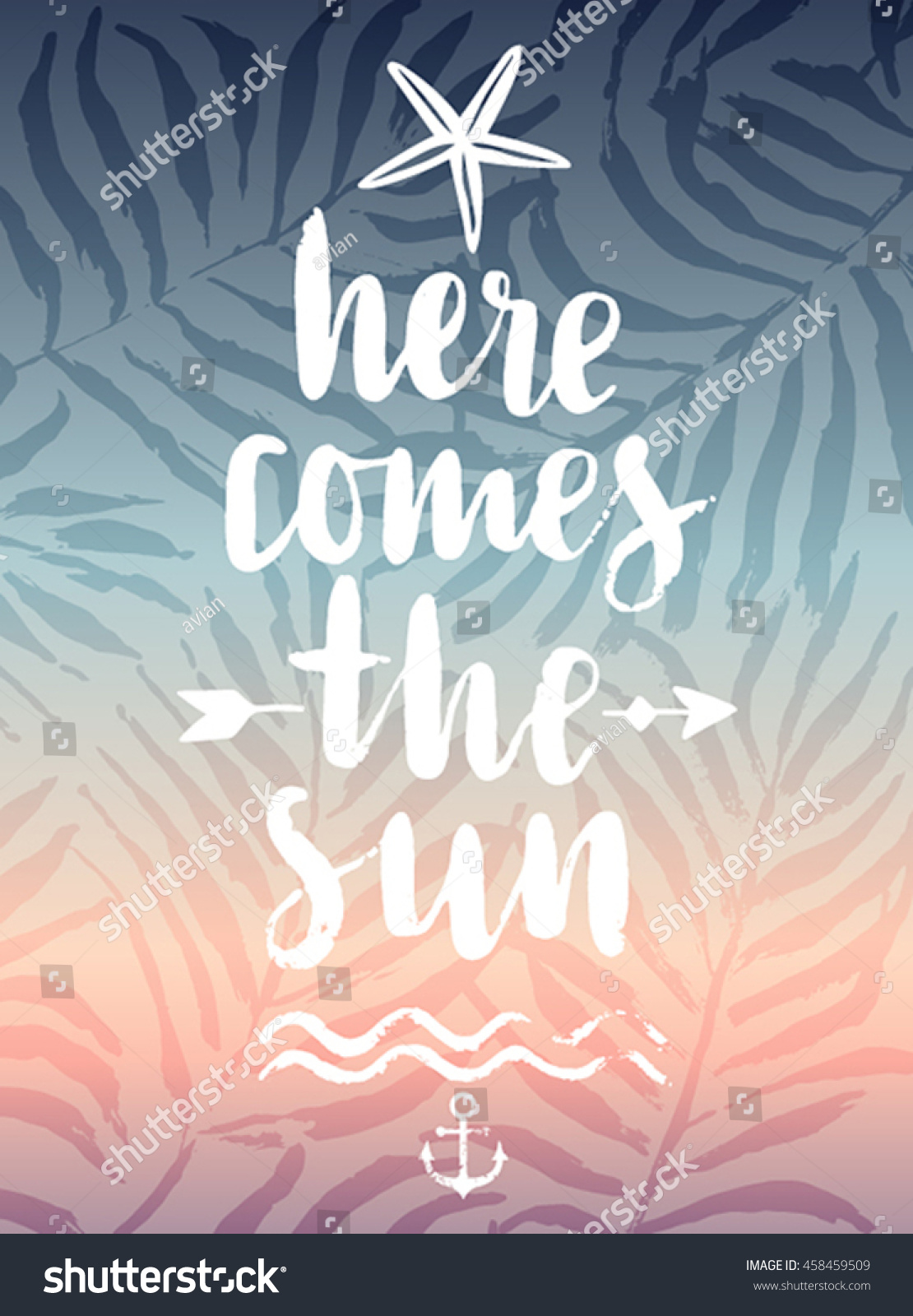 Here Comes the Sun hand drawn calligraphyc card Vector illustration