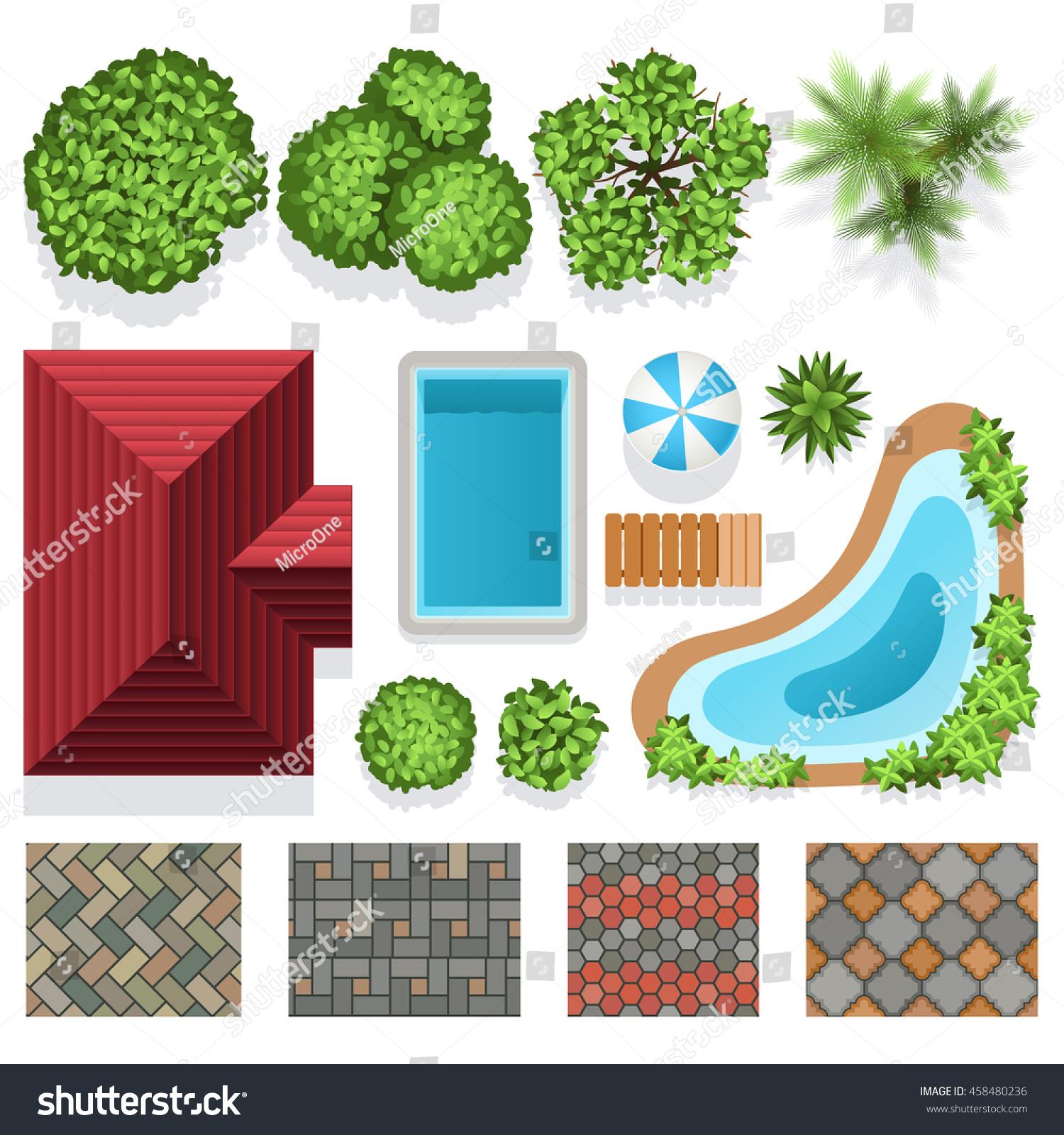 Landscape Garden Design Vector Elements Structure Stock Vector ...