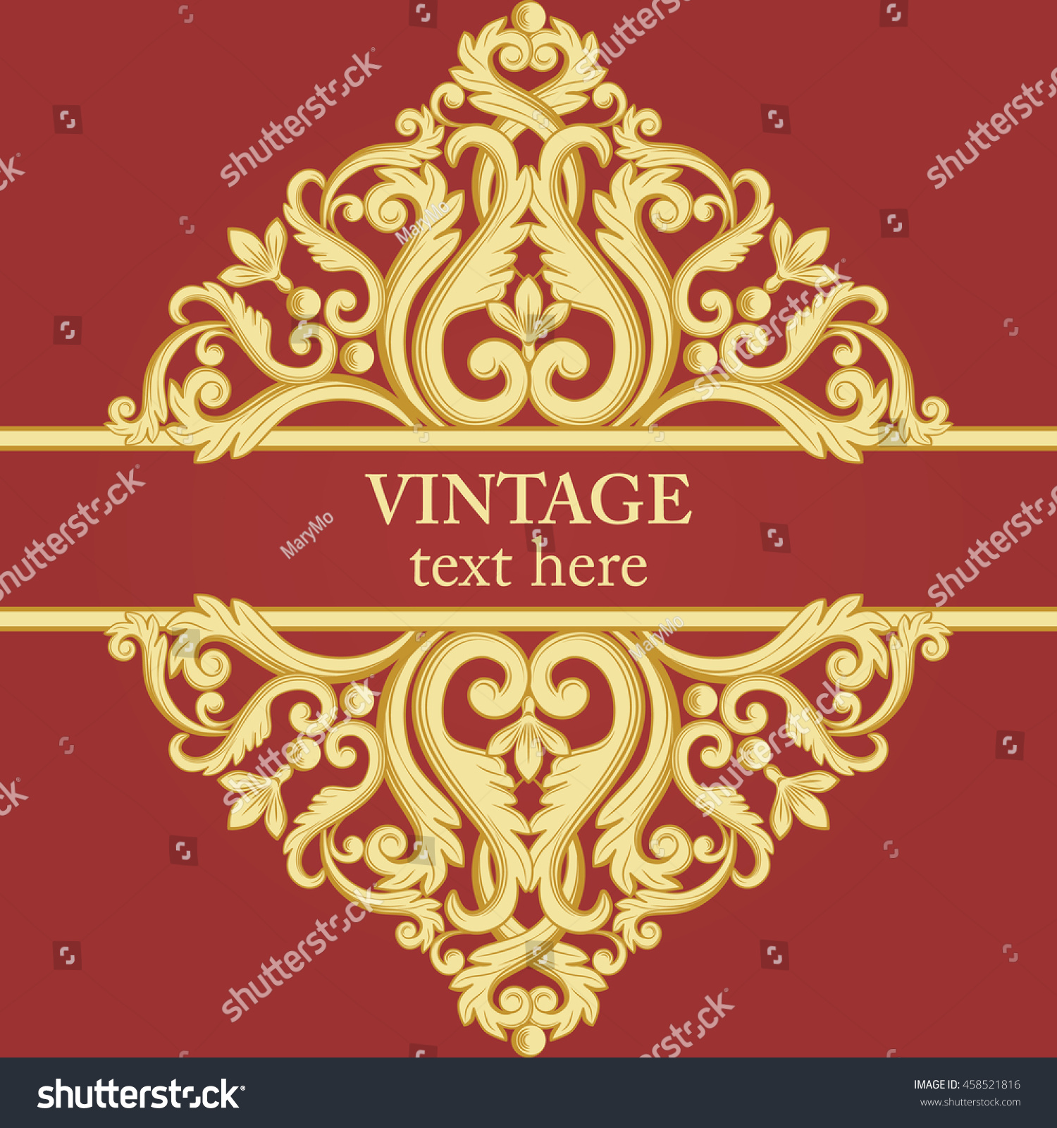 Template Baroque Vintage Element Gold Red Stock Illustration ...