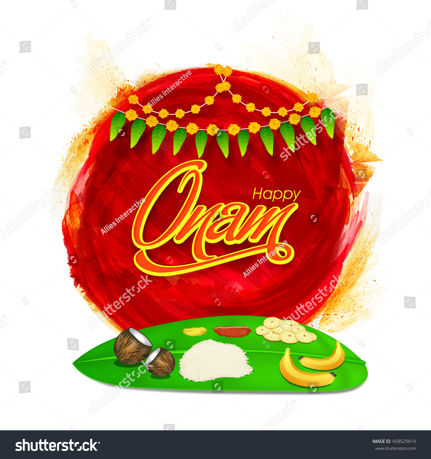 Traditional Onam Meal Sadhya Served On Stock Vector