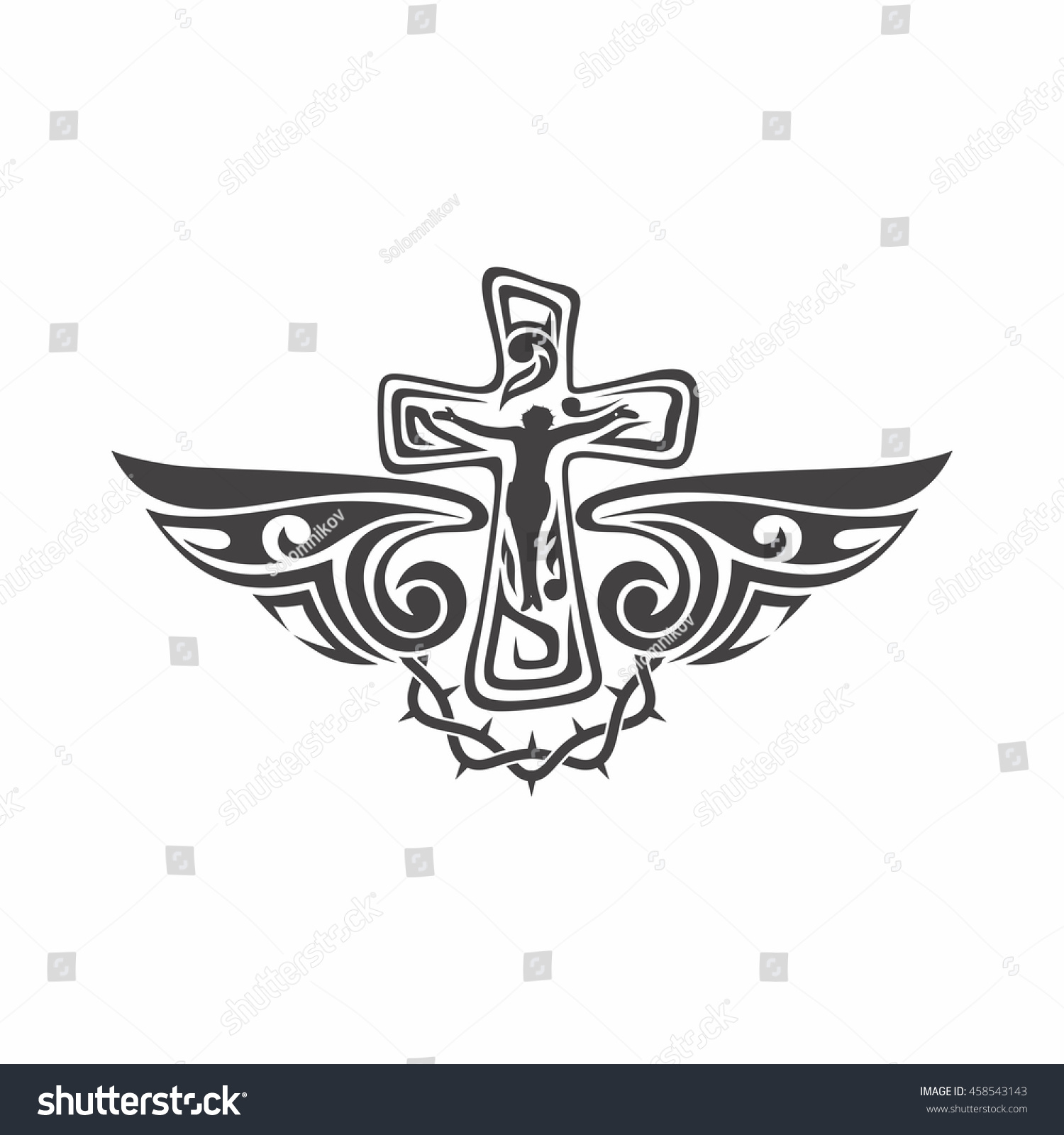 Jesus Cross Wings Christian Symbols Religious Stock Vector Royalty