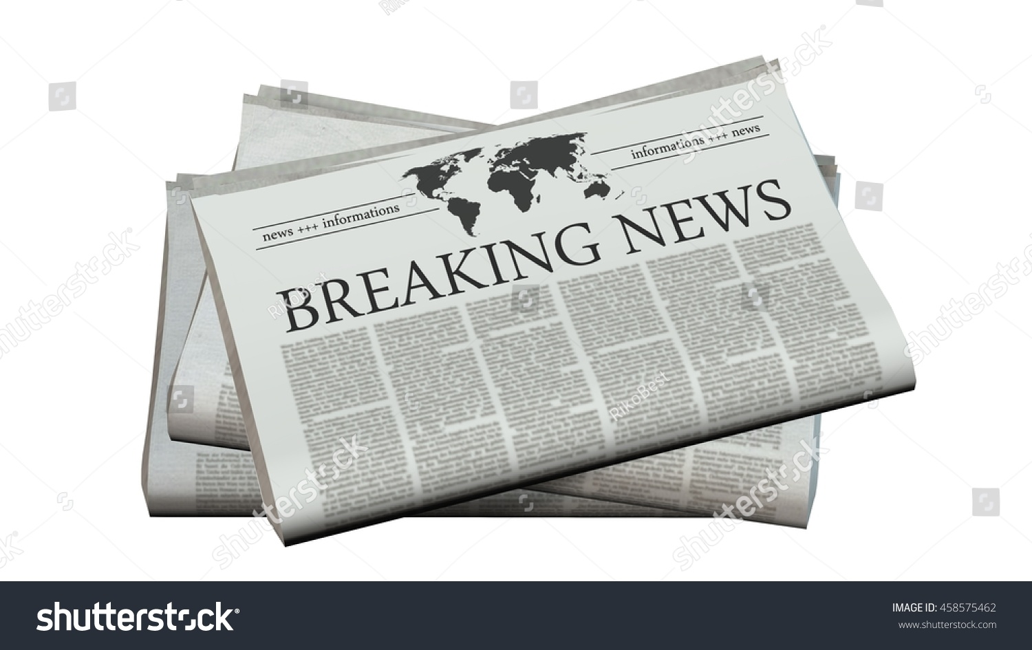 newspaper headline breaking news 3 d rendering stock illustration