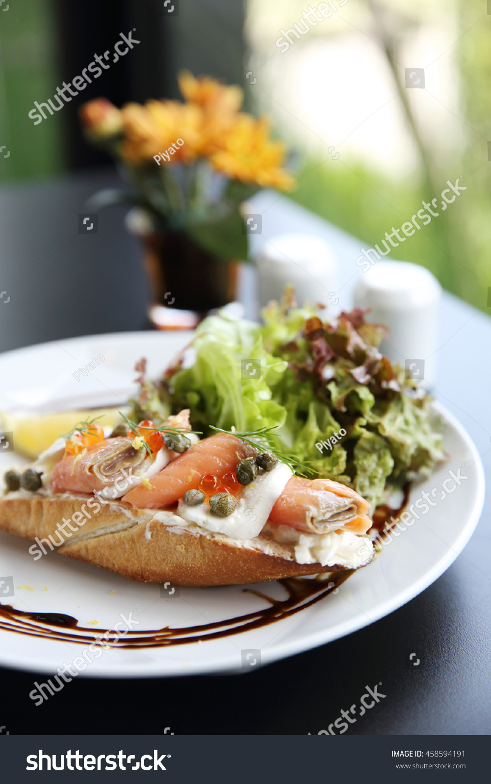 Canapes smoked salmon cream cheese stock photo 458594191 for Smoked salmon cream cheese canape