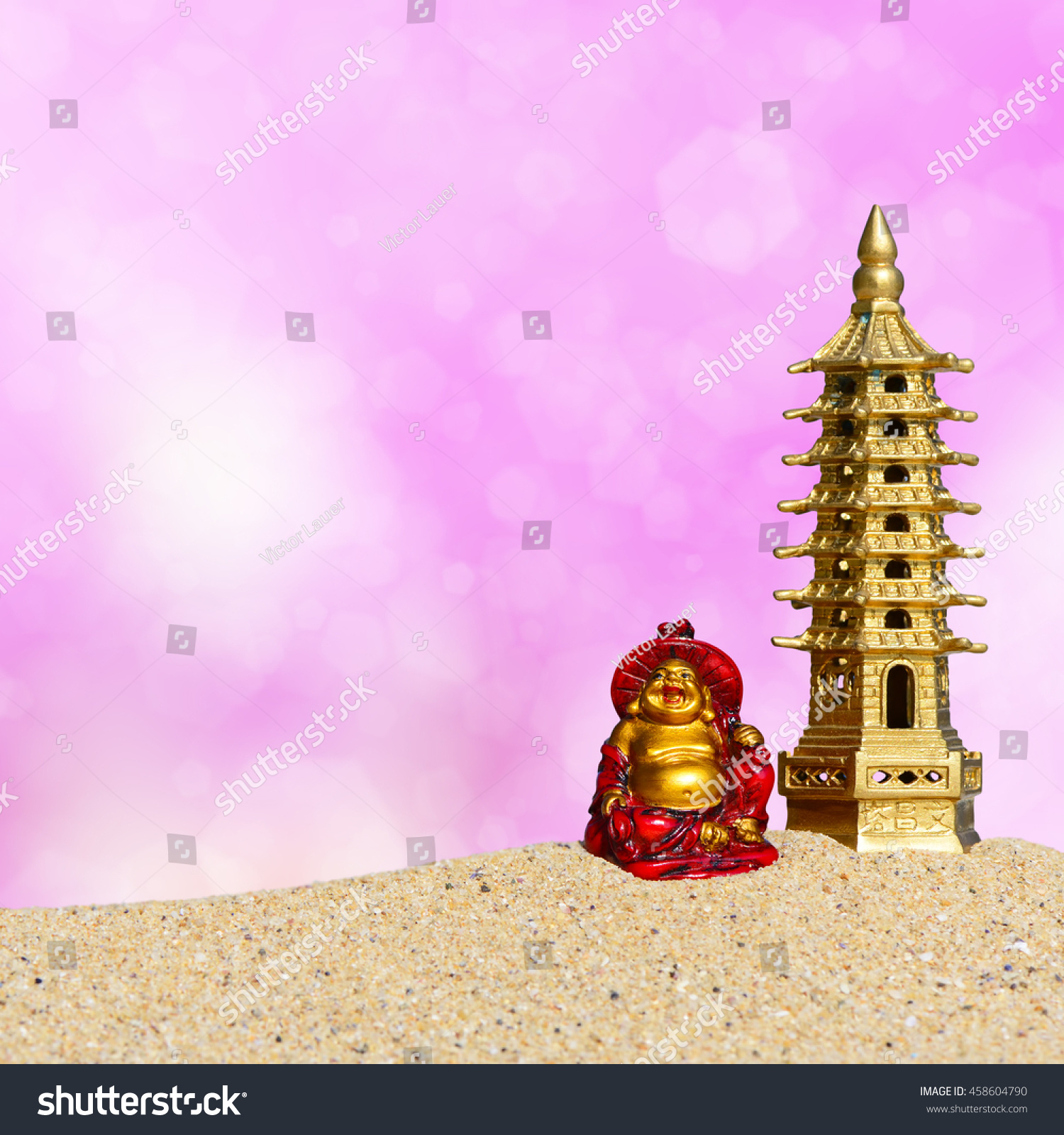 Royalty Free Laughing Buddha And Seven Storied 458604790 Stock