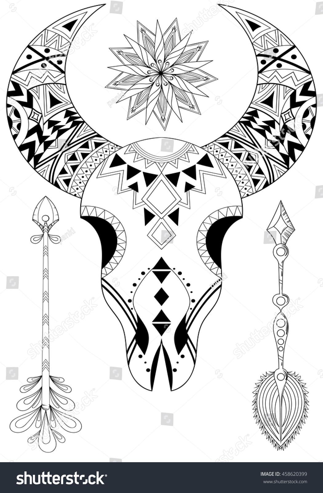 Zentangle Animal Skull Sun Arrows Hand Stock Vector Royalty Free