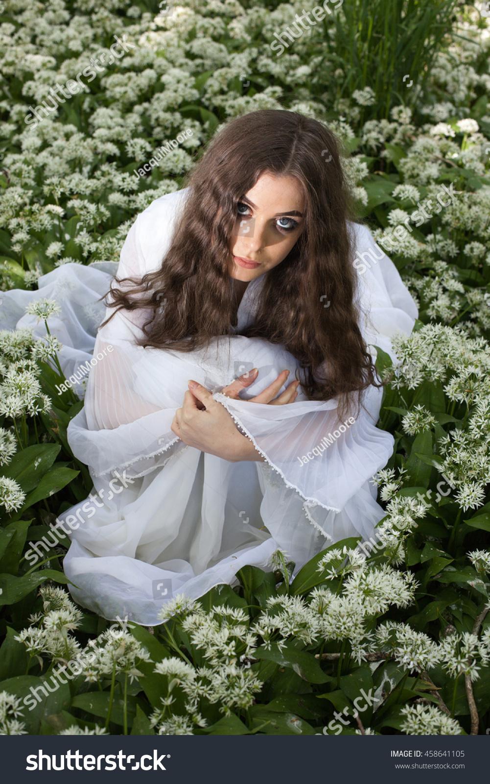 Beautiful Woman Wearing Long White Dress Stock Photo Edit Now