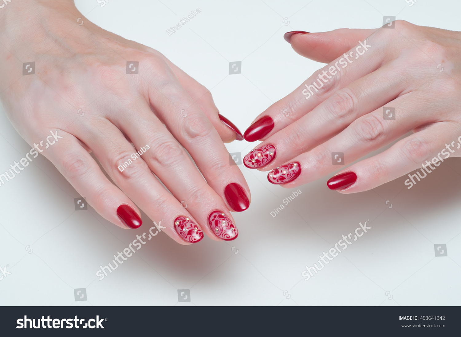 Long Oval Nails Maroon Mesh Butterfly Stock Photo (100% Legal ...