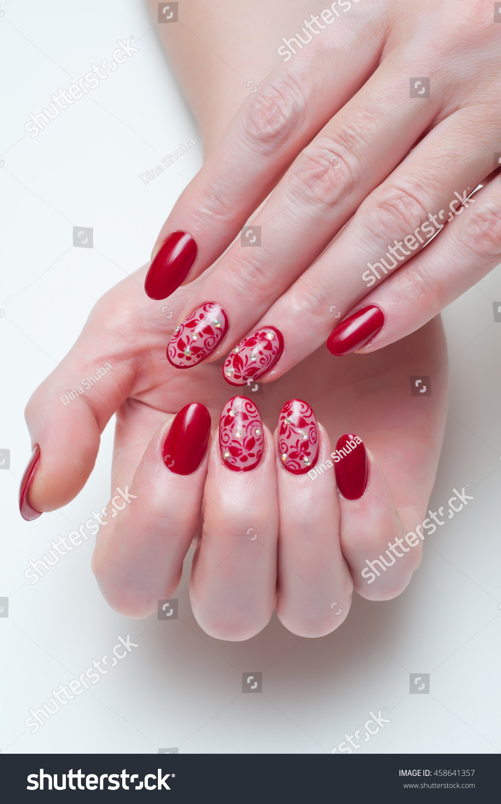 Long Oval Nails Maroon Mesh Butterfly Stock Photo (Royalty Free ...