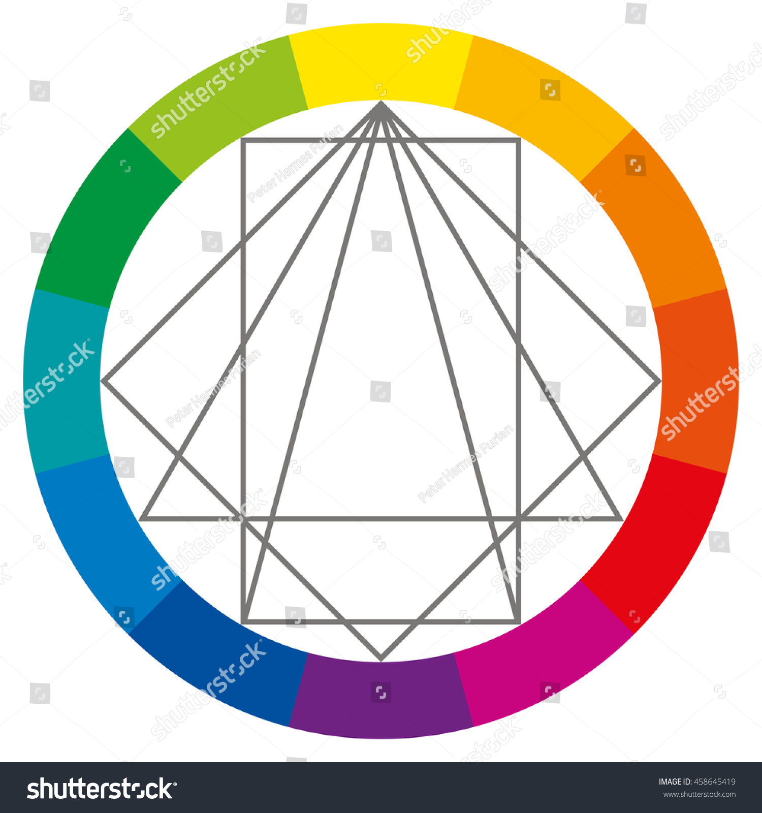 Color wheel showing complementary colors that are used in art and  paintings. Square, rectangle