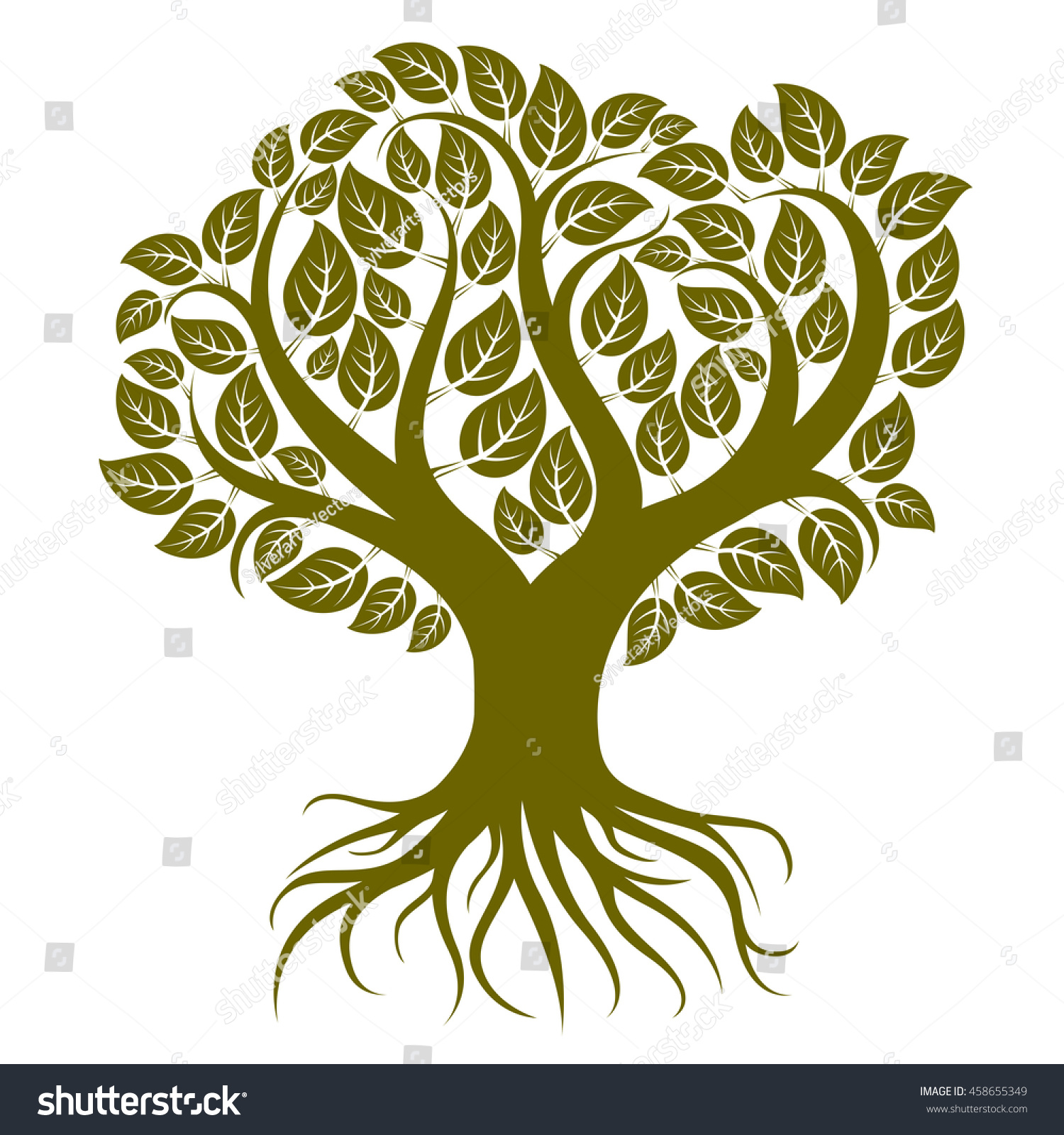 Art Illustration Branchy Tree Strong Roots Stock Illustration