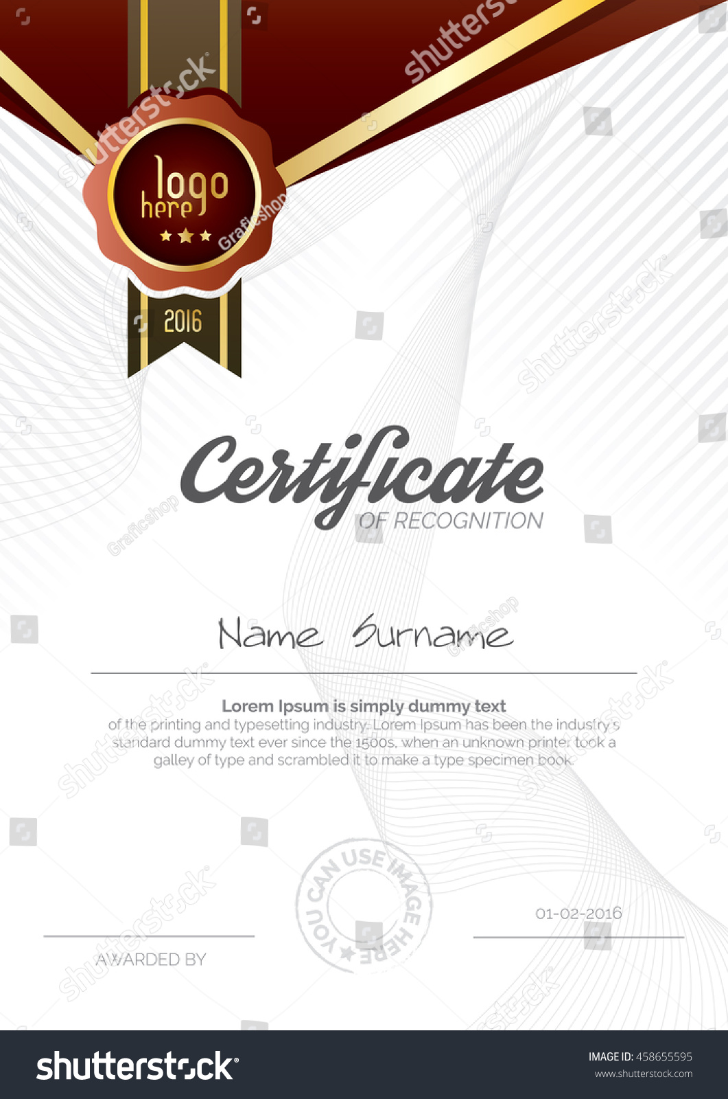 Vertical Certificate Layout Design Template Design Stock Vector