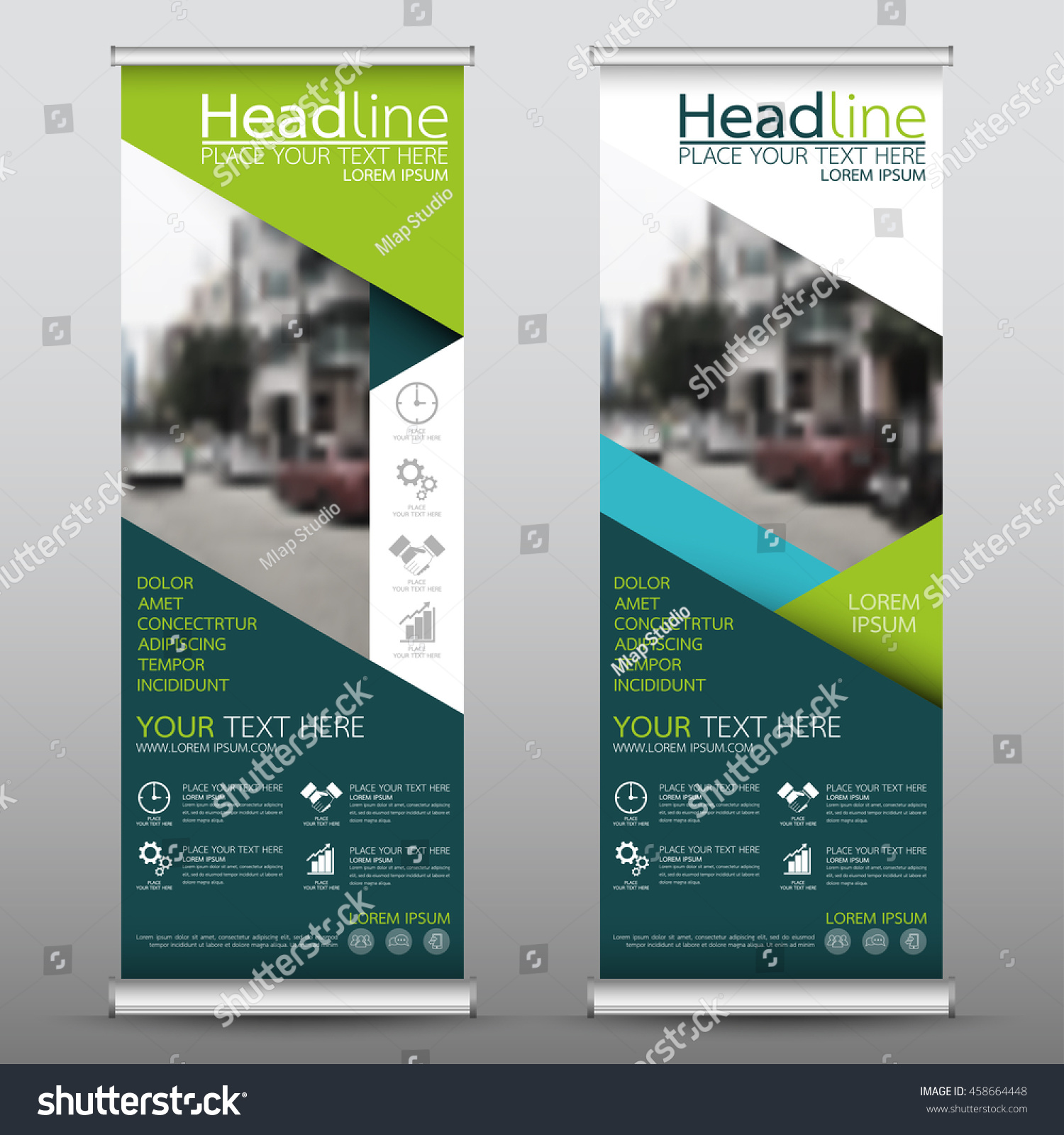 Green roll up business brochure flyer banner design vertical template - Green And Blue Roll Up Business Banner Design Vertical Template Vector Cover Presentation Abstract Geometric