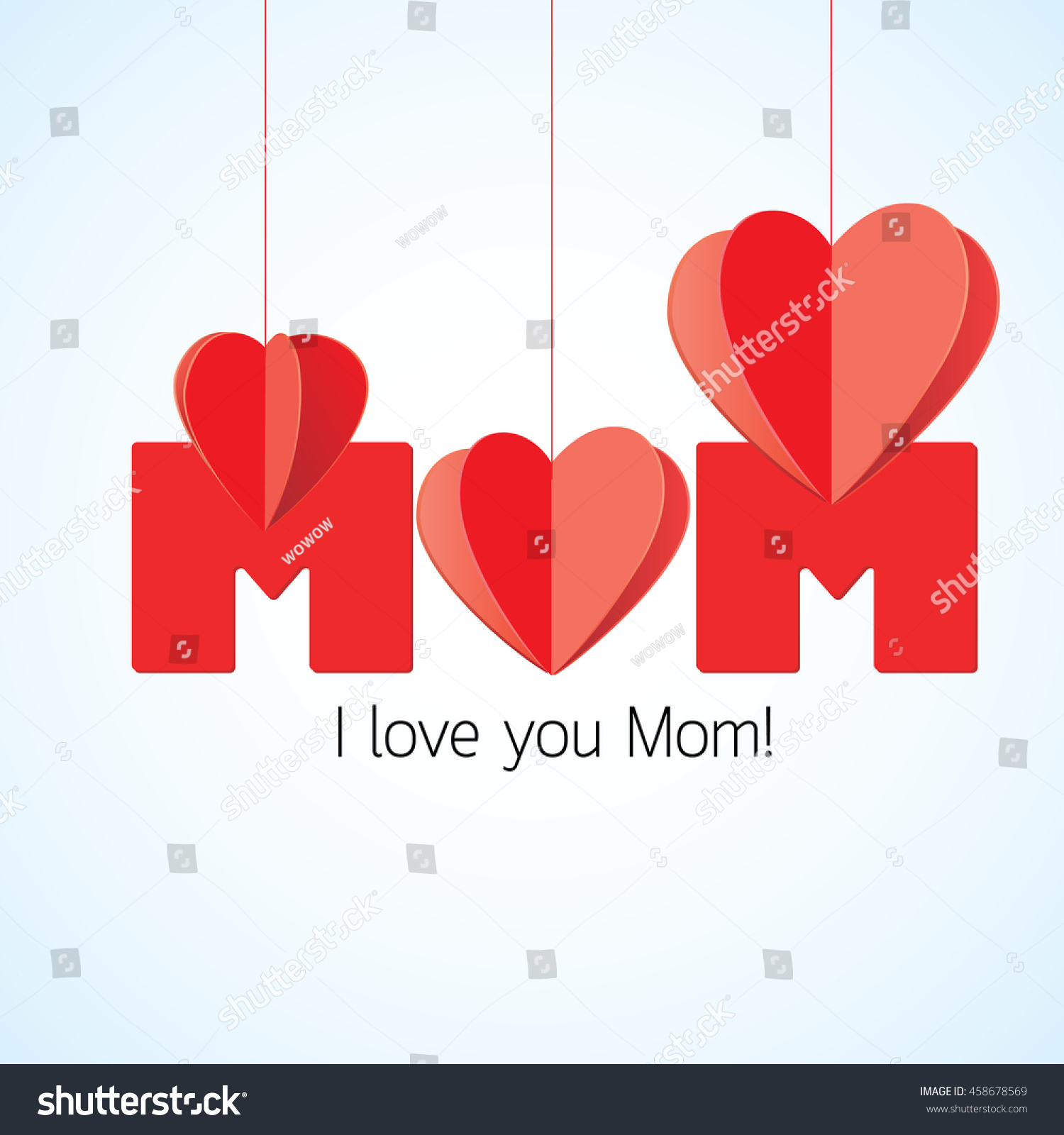 Red Heart Mom Hanging Letters On Stock Vector Hd Royalty Free