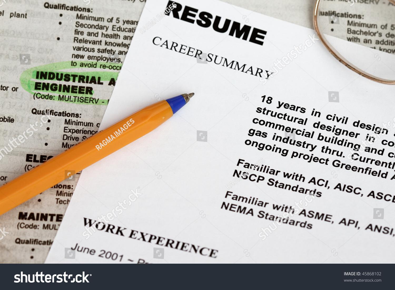 Close Resume Form Ads Concept Unemployment Stock Photo 45868102