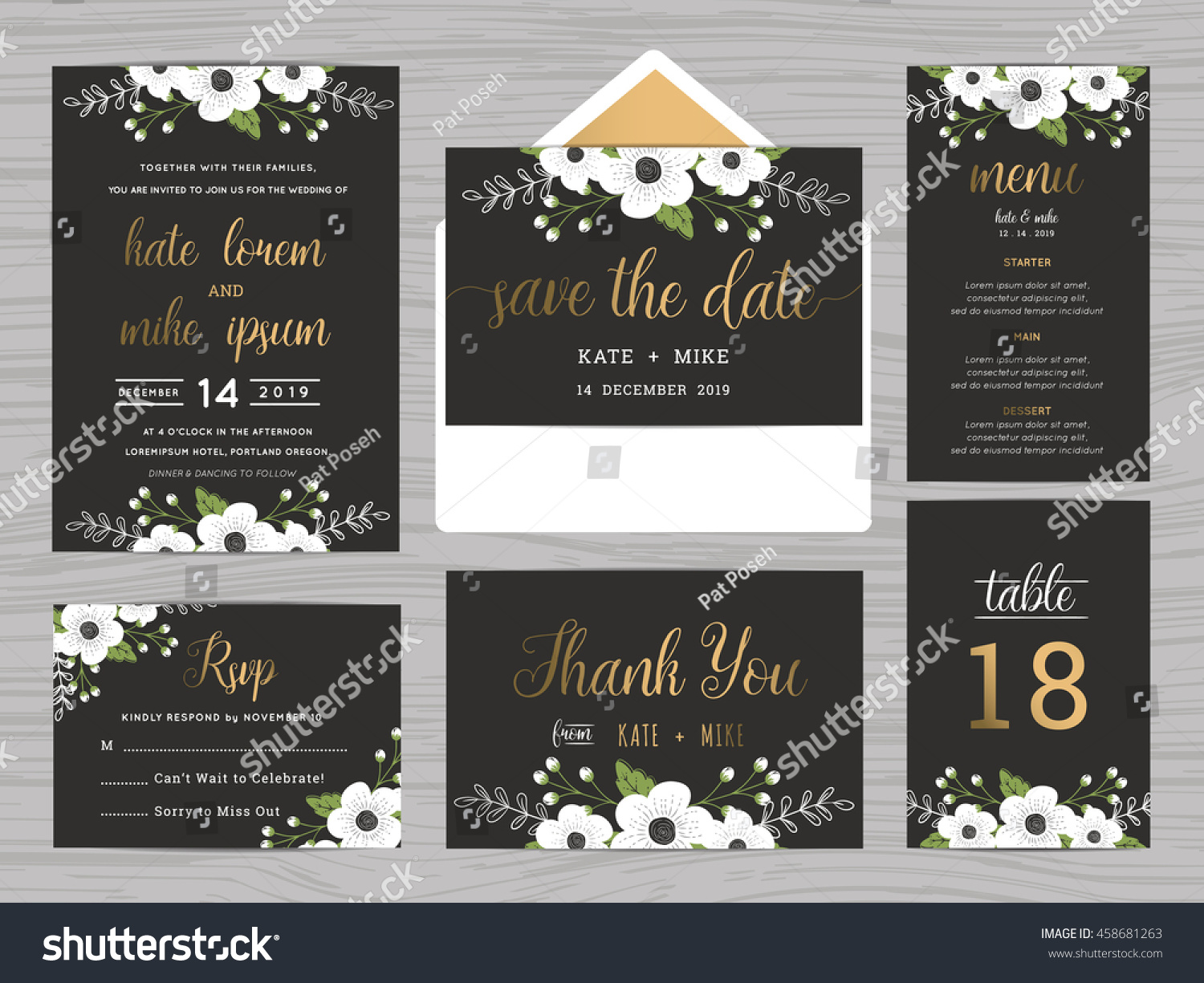 Set Wedding Suite Template Decorate White Stock Vector 458681263 ...