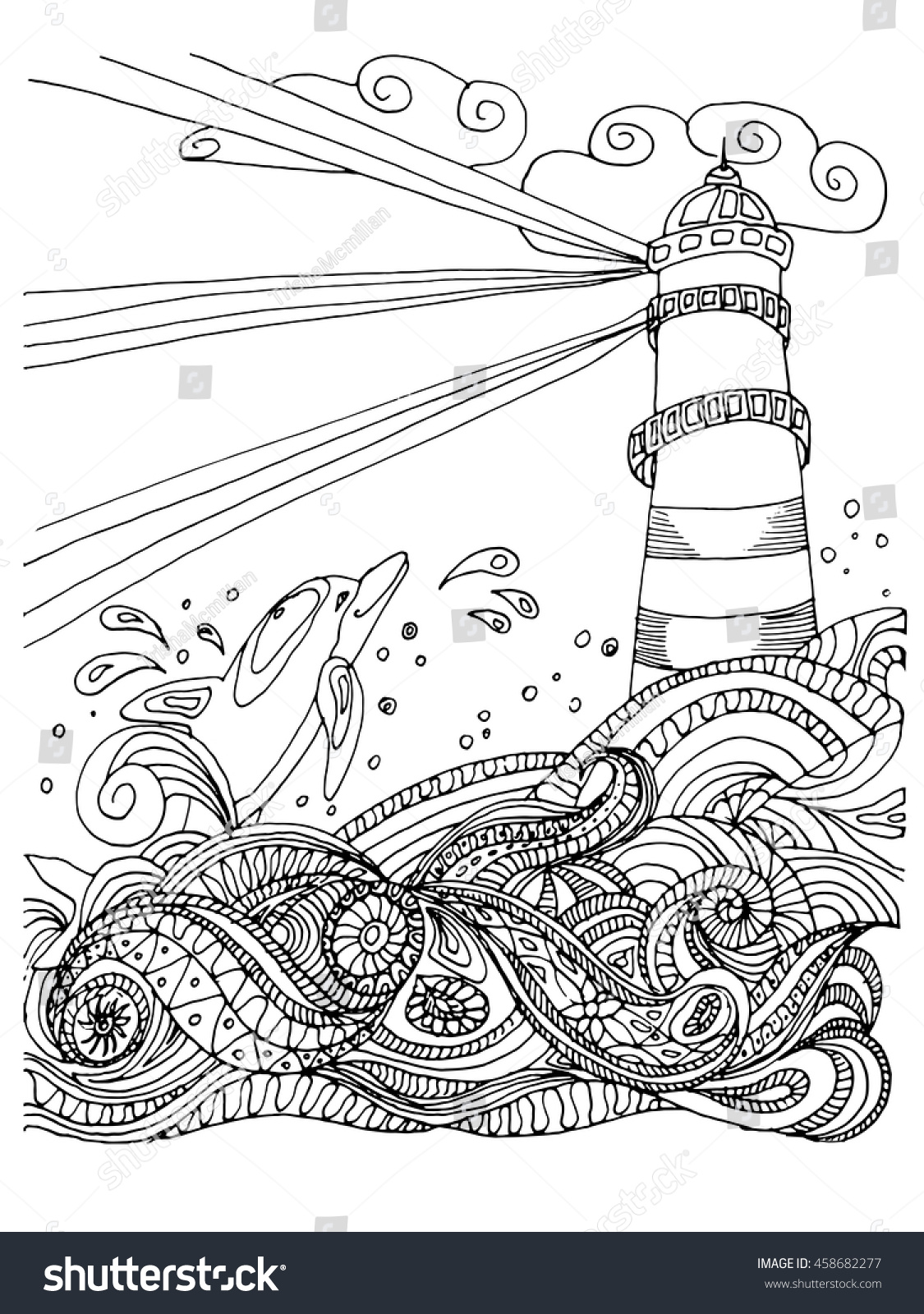 Sketch Of Light House For Coloring Book Adult Anti Stress Nautical Theme