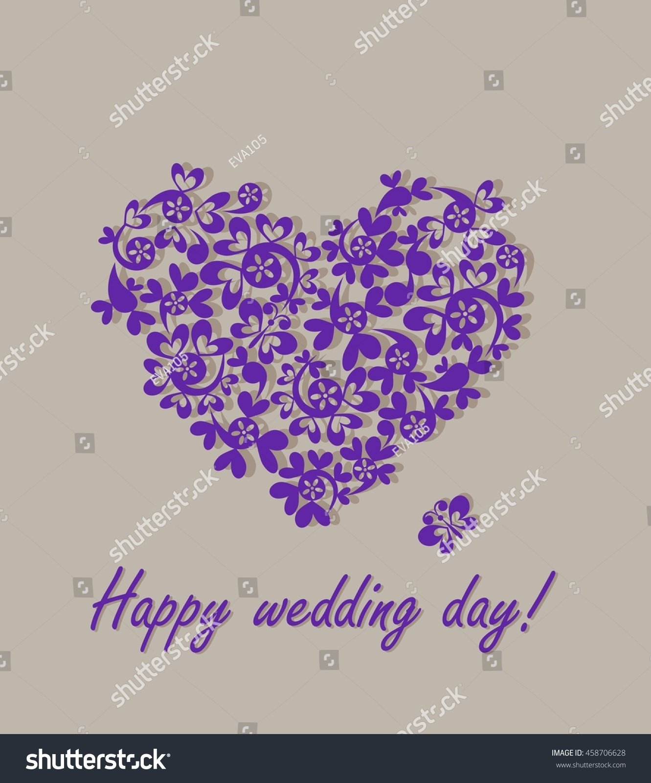Happy Wedding Day Greeting Card With Paper Heart