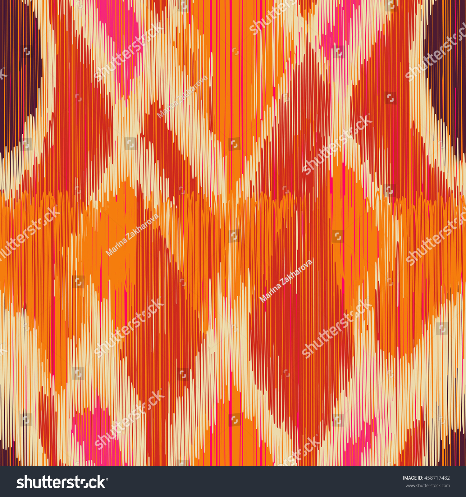 Seamless Ikat Pattern Abstract Background Textile Stock