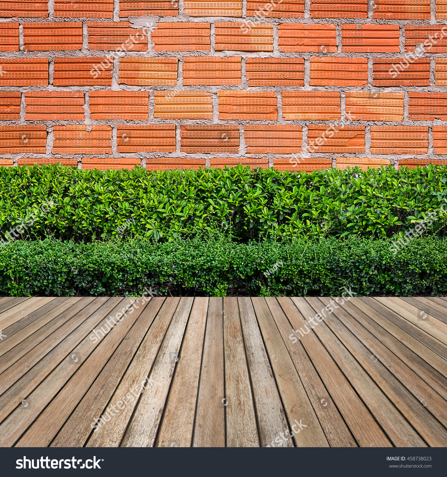 Wooden Flooring Plant Garden Decorative On Stock Photo (Royalty Free ...