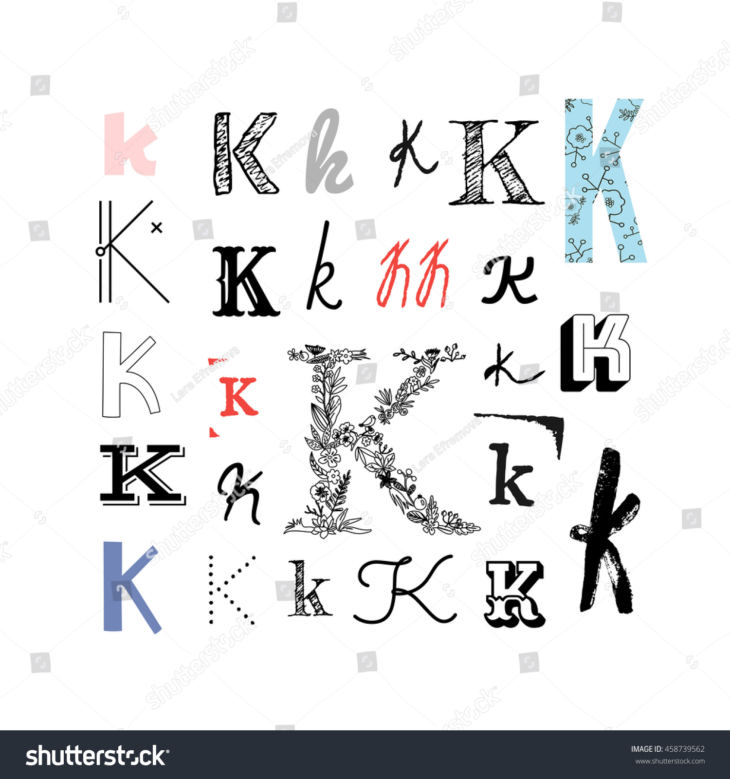 set letter k different style collection stock vector (royalty free