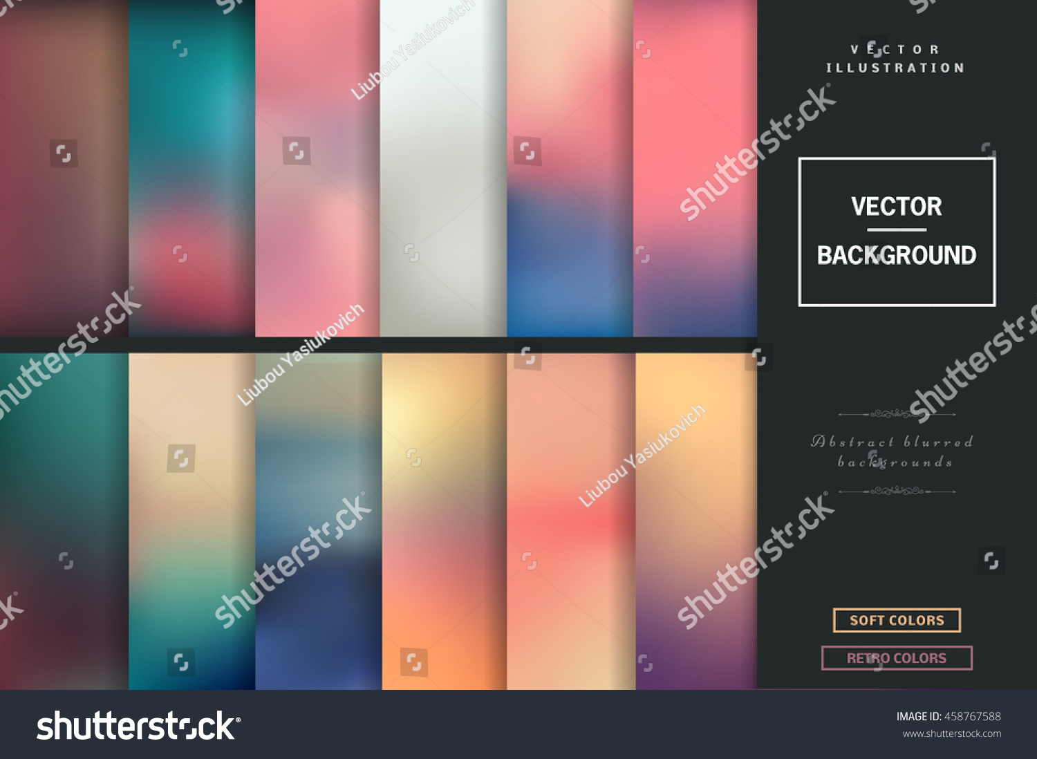 Website soft colors - Abstract Colorful Blurred Vector Backgrounds Elements For Your Website Or Presentation Set With Many