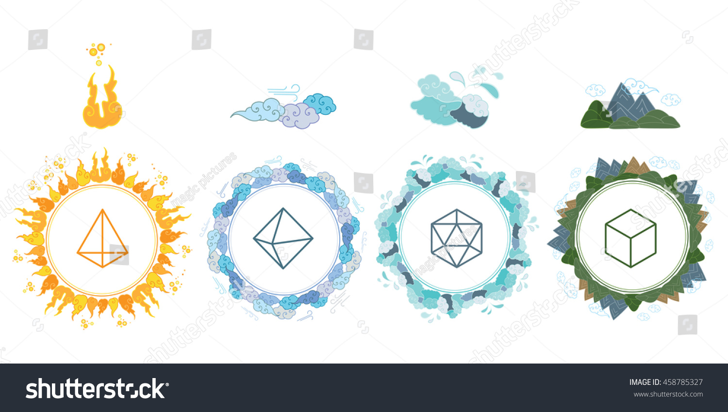 Vector Illustration Four Main Elements Fire Stock Vector Royalty