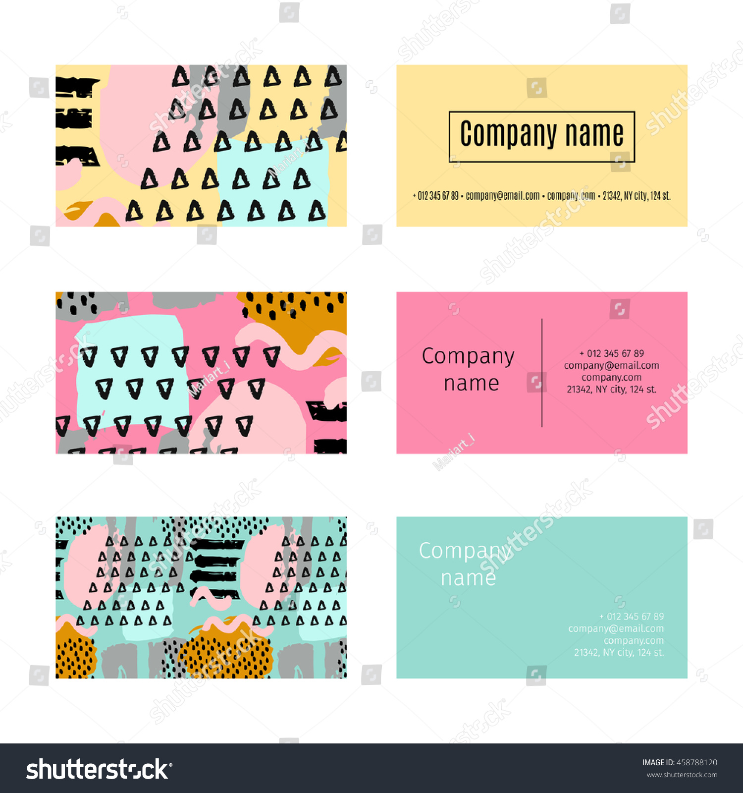 Collection Business Cards Memphis Abstract Pattern Stock Vector ...