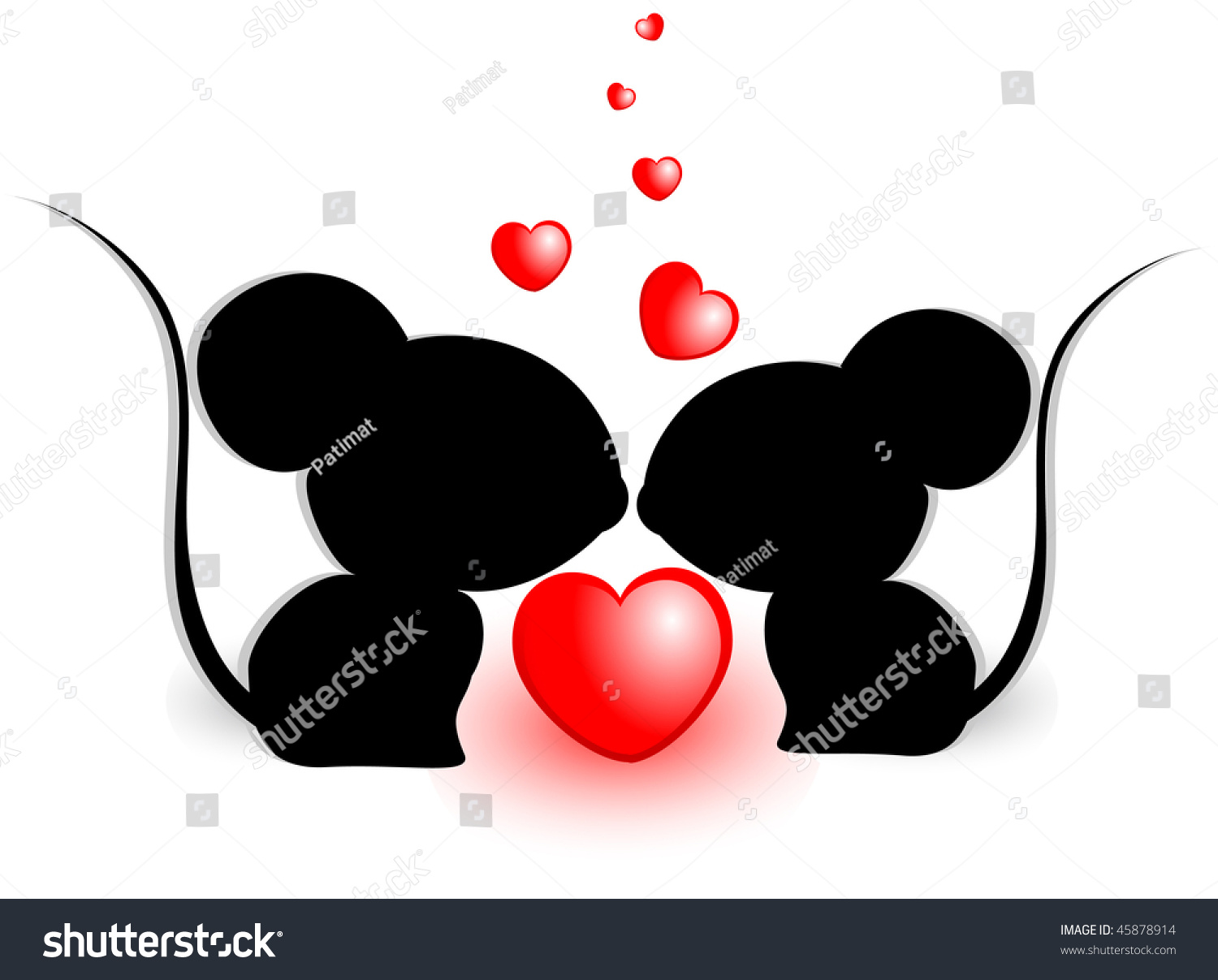 Cute Valentine Mouse. Vector Illustration - 45878914 ...