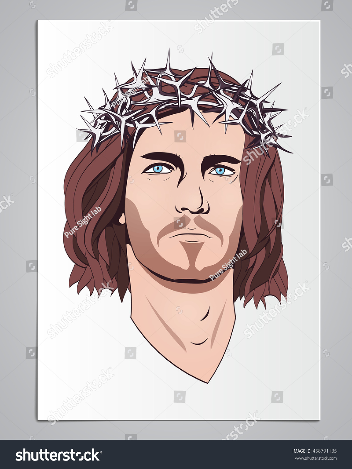 Jesus Christ, Contour Image Background White Paper Long Hair, A Crown Of