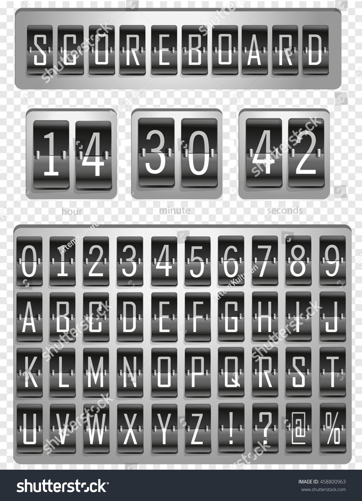 Vintage Scoreboard Time Analog Display Panel Stock Vector