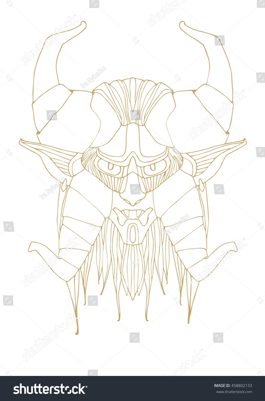 mask evil mythical creatures horns stock vector royalty free