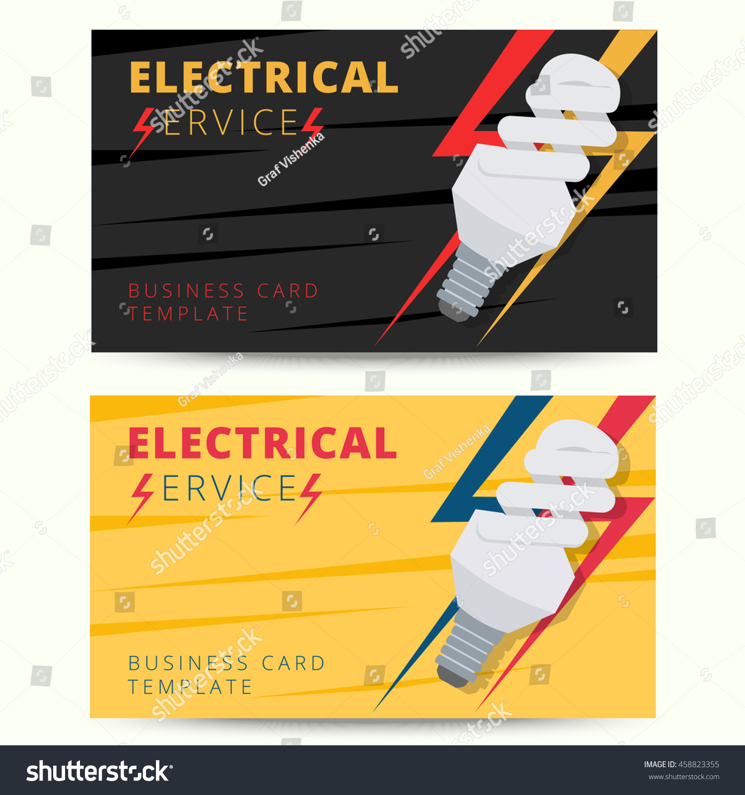 set professional electrician business card template stock vector