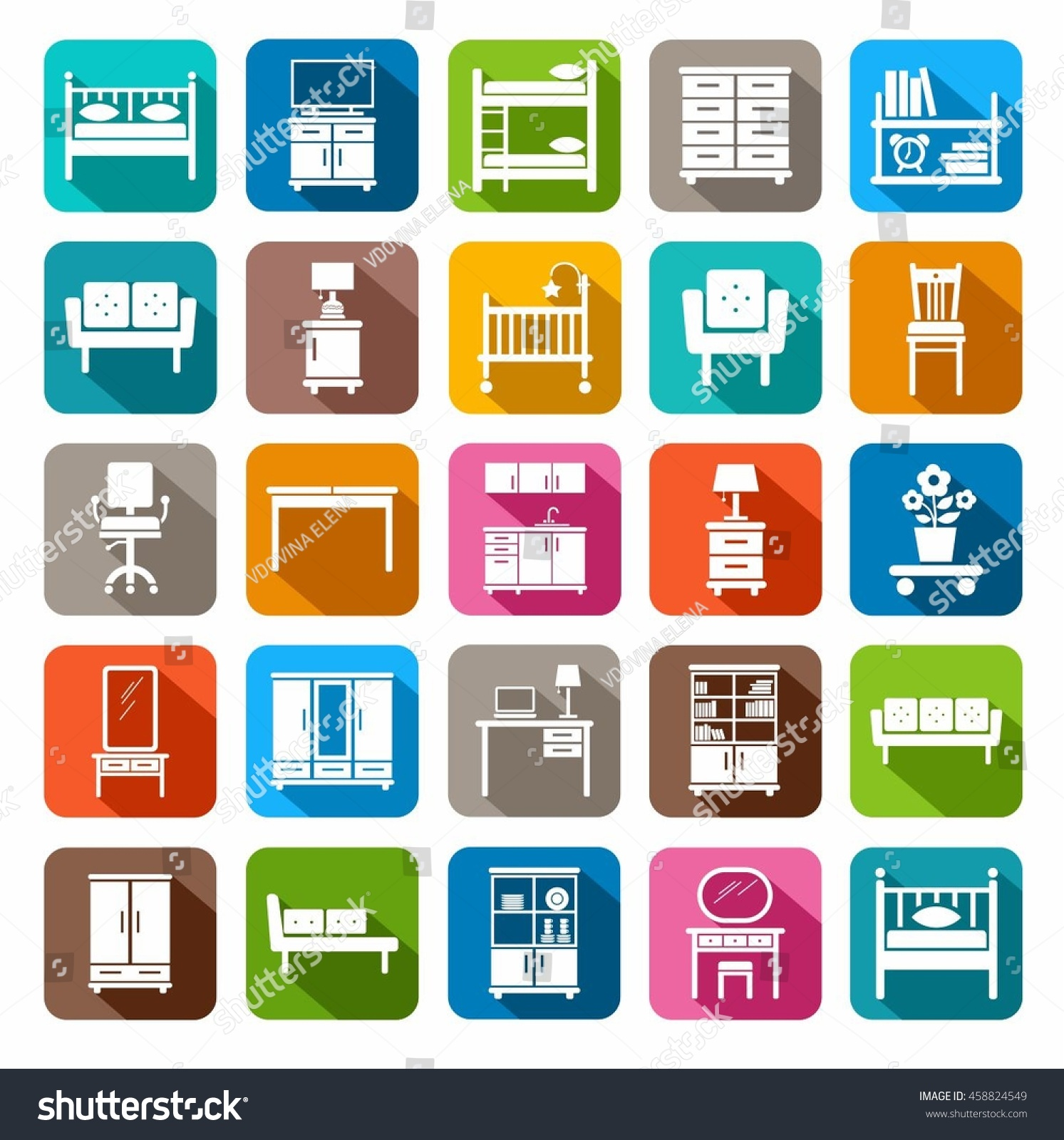 Modern Furniture Icon furniture icons colored flat vector icons stock vector 458824549