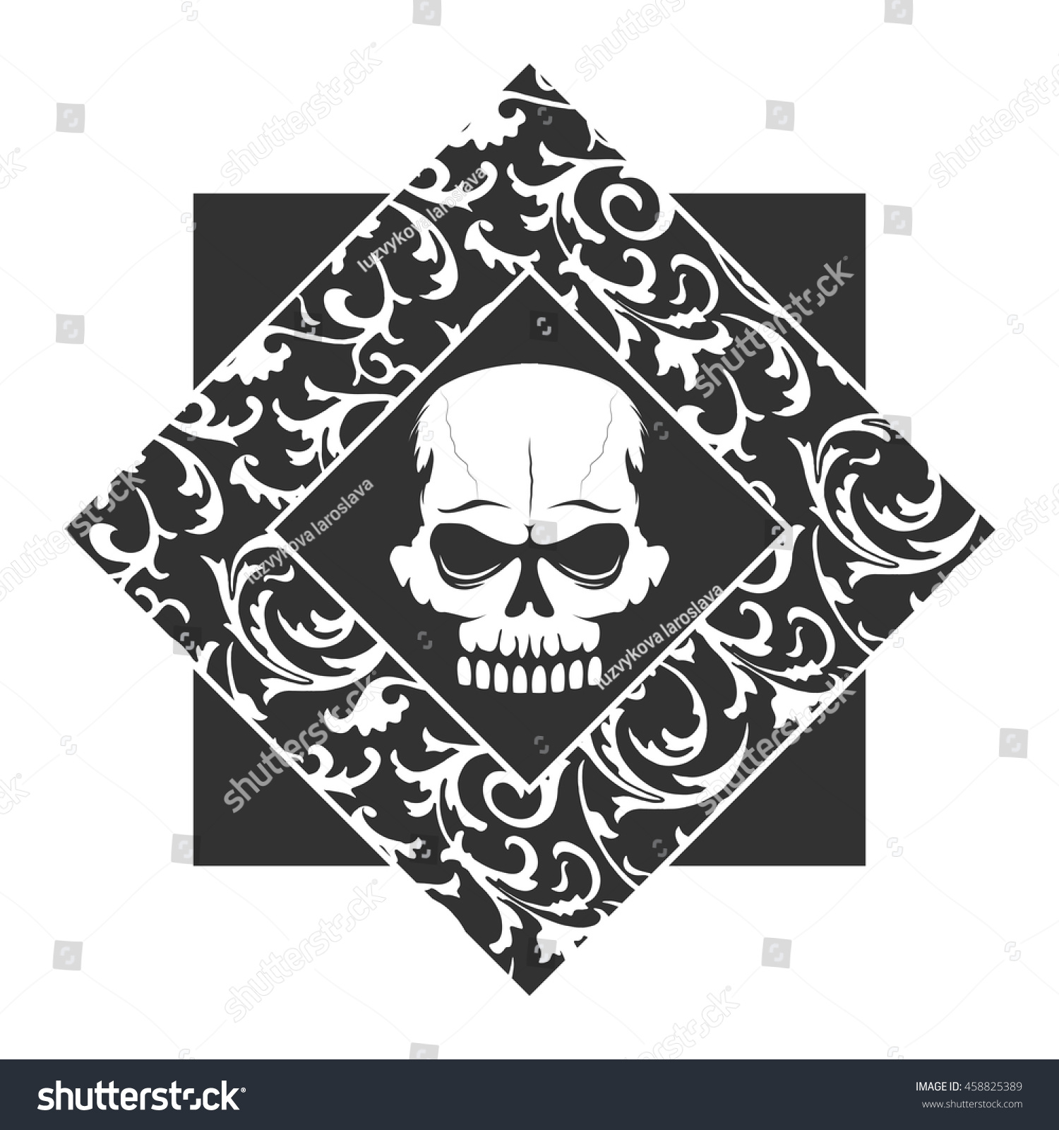 Skull graffiti stencil with floral retro pattern frame. T-shirt ...