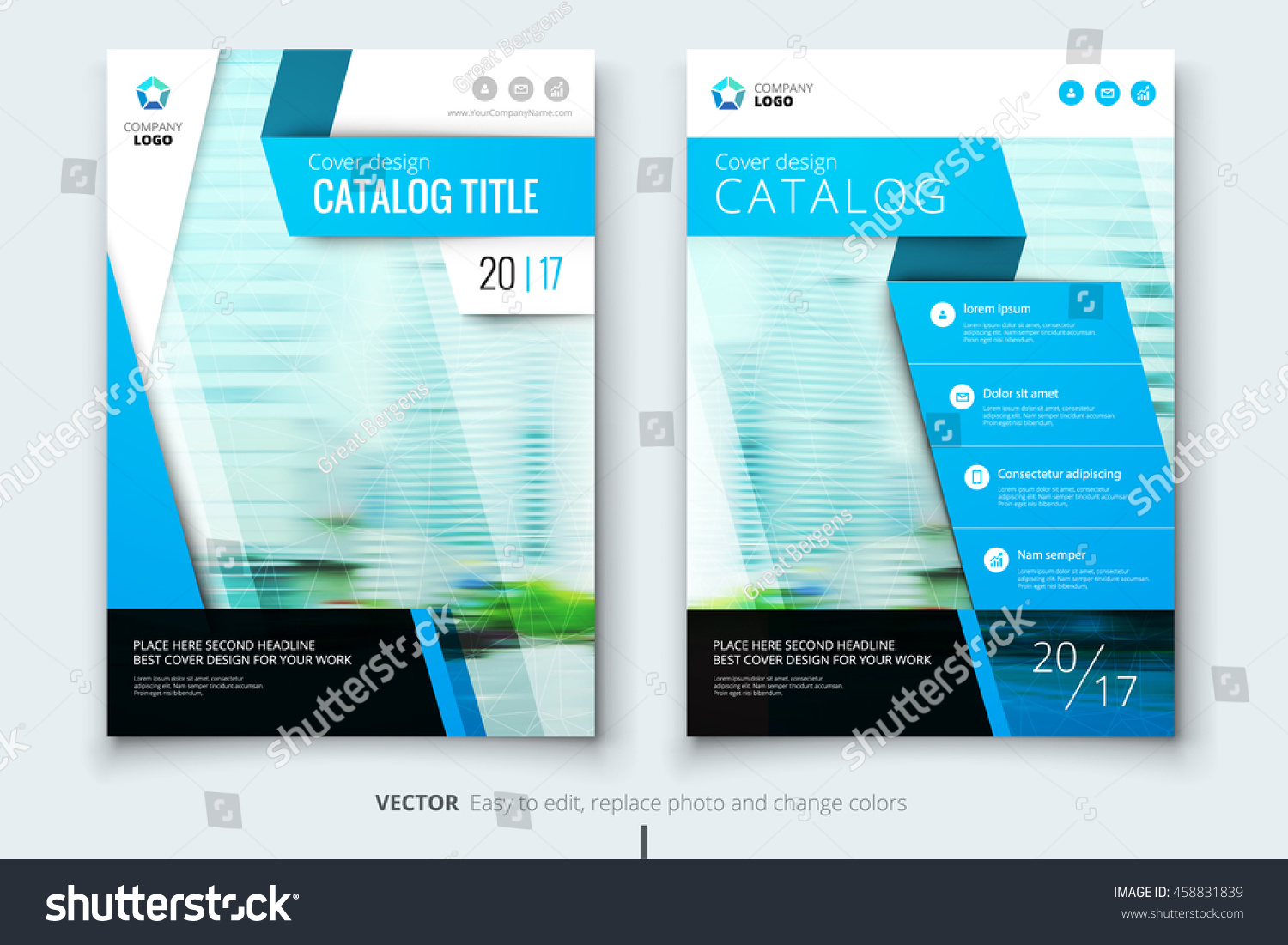 Blue Catalog Cover Design Corporate Business Stock Vector Royalty