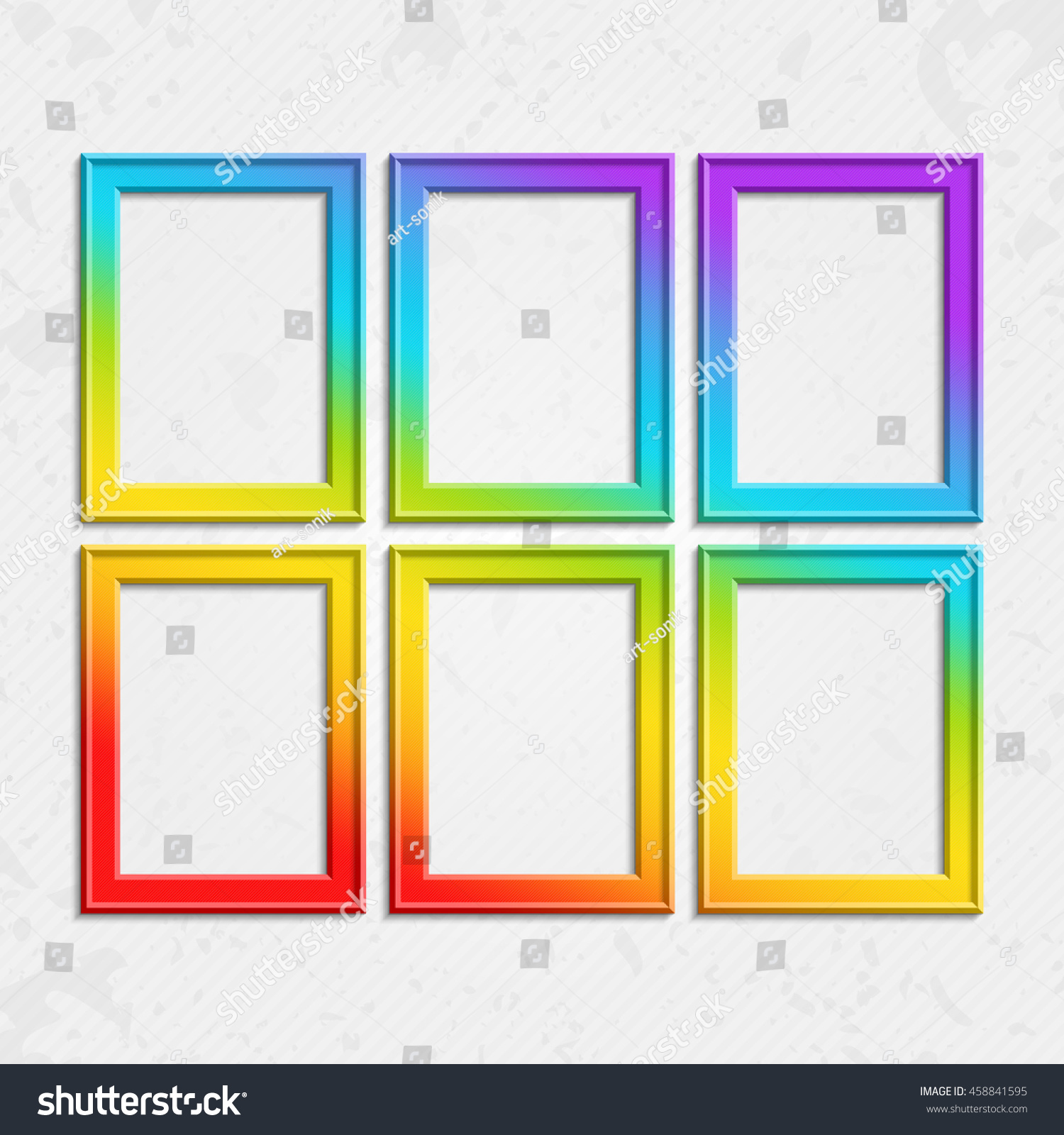 Set Colorful Wooden Frames Wooden Square Stock Vector 458841595 ...