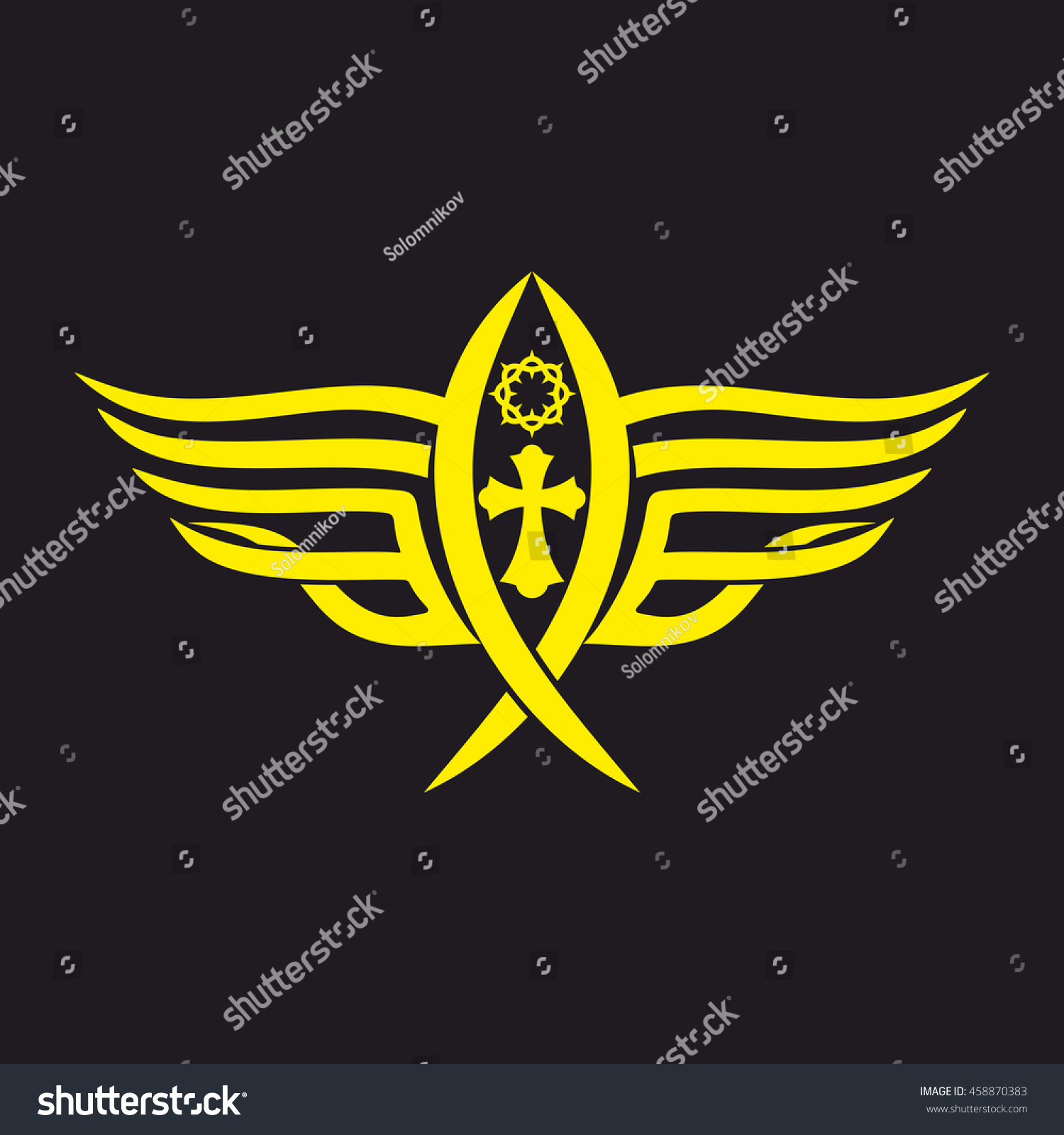 Gothic Tattoo Marks Christian Symbols Fish Stock Vector Royalty
