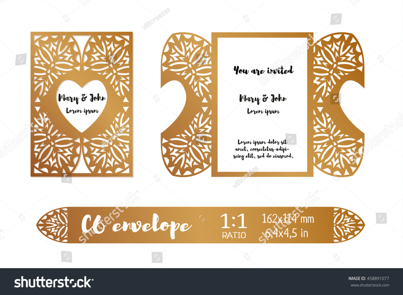 Wedding Invitation Envelope Layout Openwork Filigree Stock Vector ...